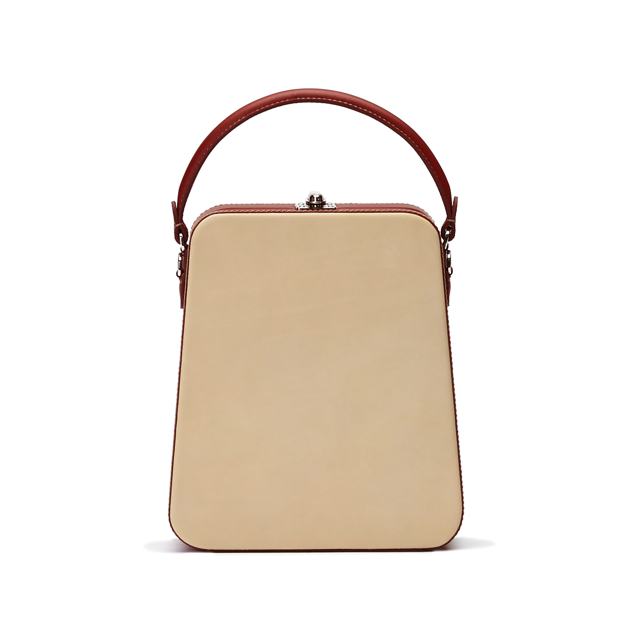 The ivory and chianti color french calf Tall Bertoncina bag by Bertoni 1949 01