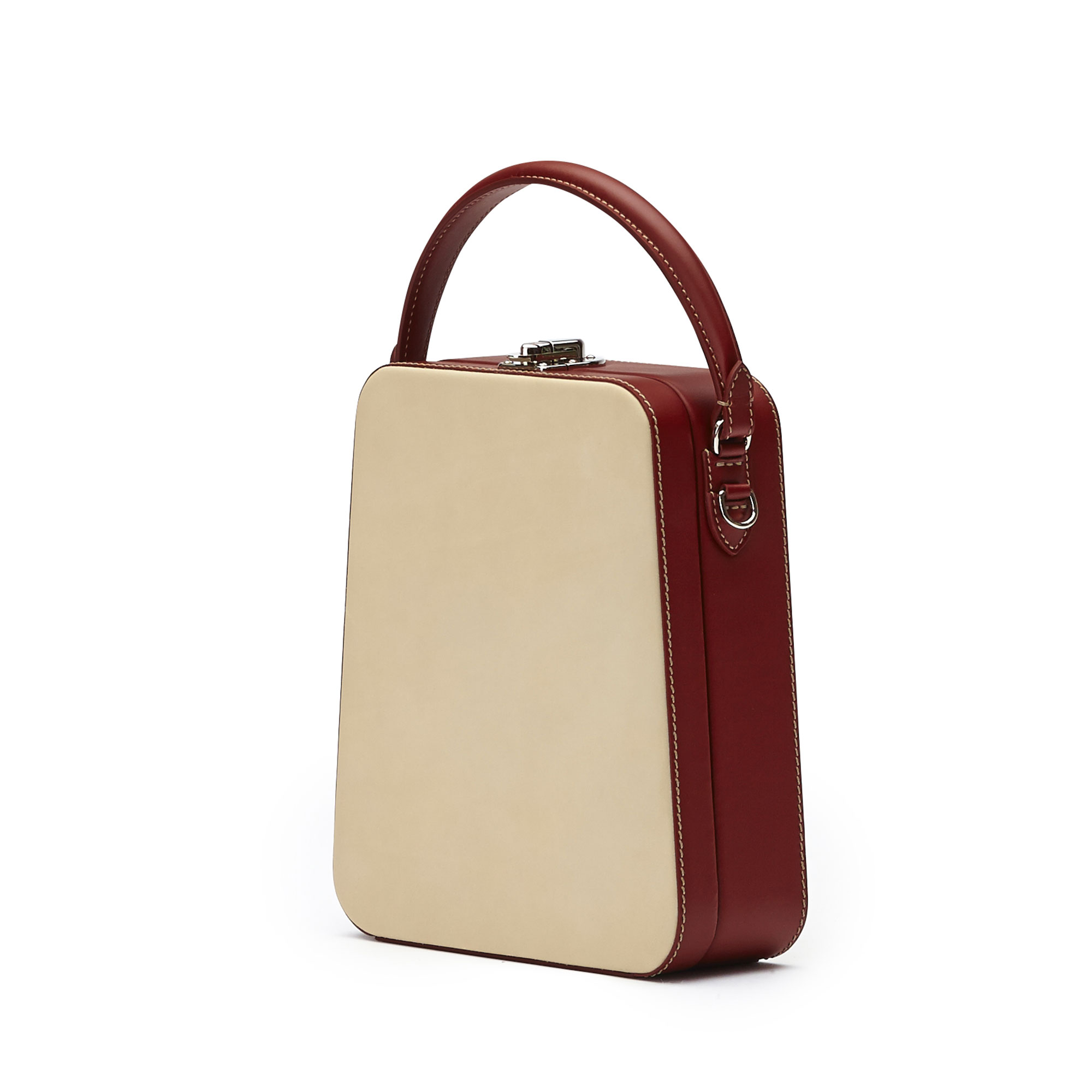 The ivory and chianti color french calf Tall Bertoncina bag by Bertoni 1949 02