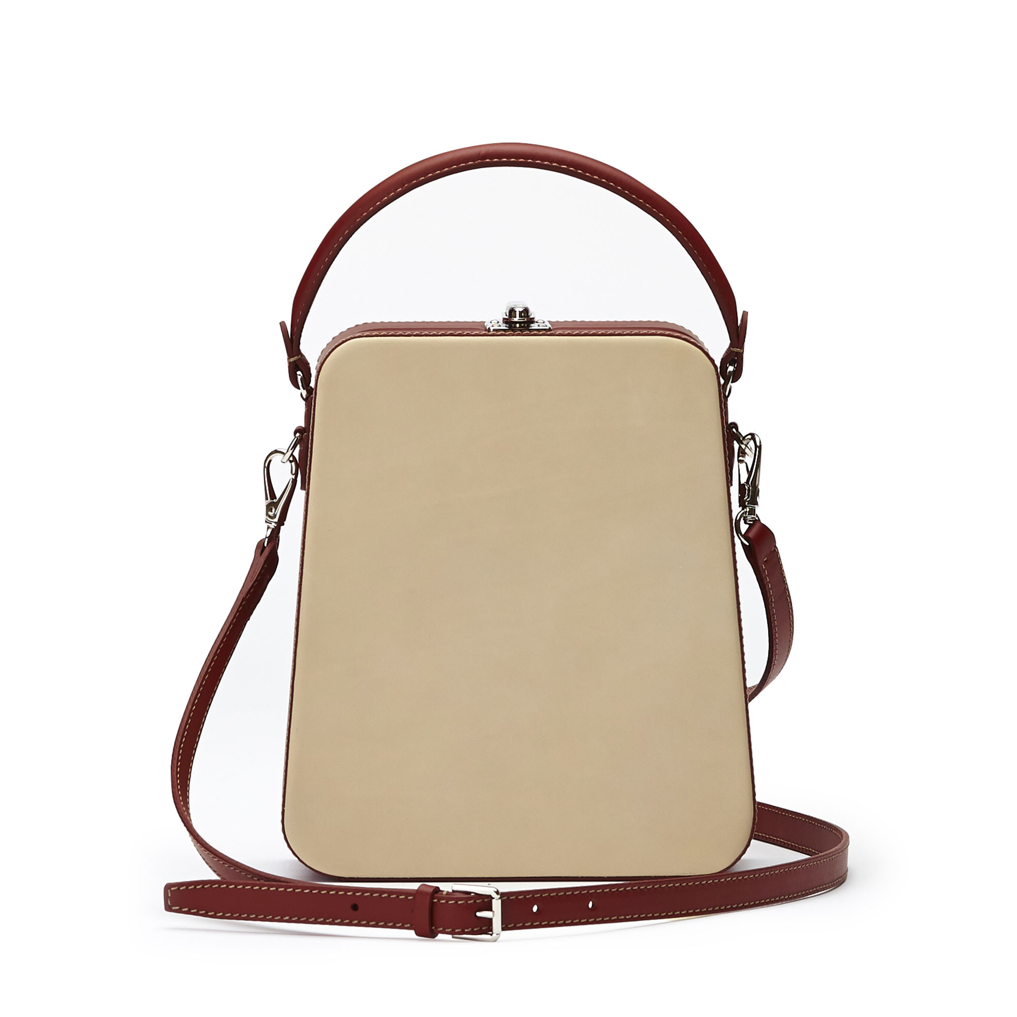 The ivory and chianti color french calf Tall Bertoncina bag by Bertoni 1949 03