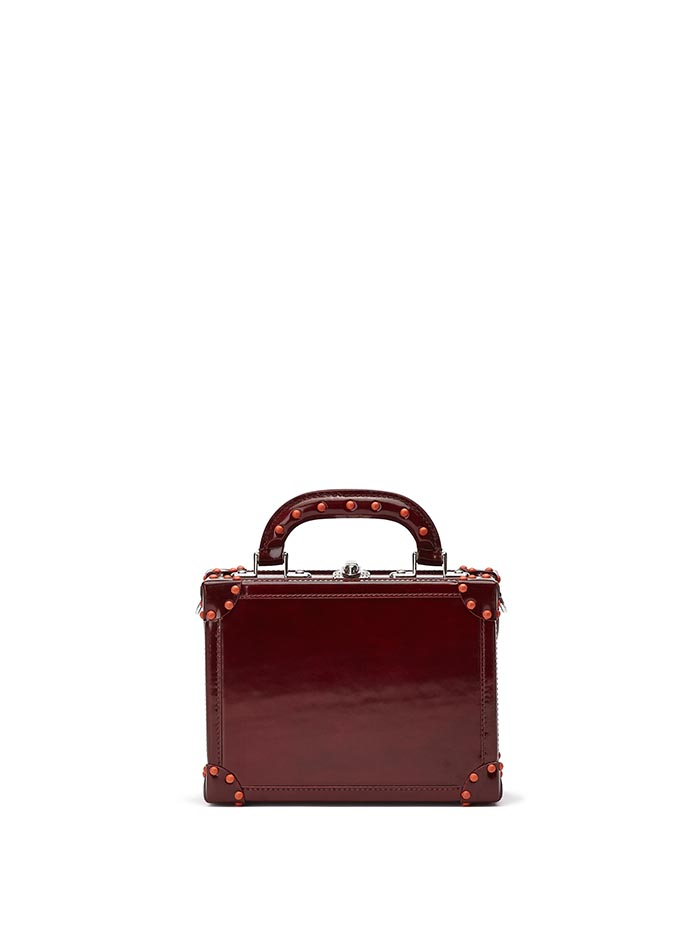 The chianti color brushed calf Mini Squared Bertoncina bag by Bertoni 1949