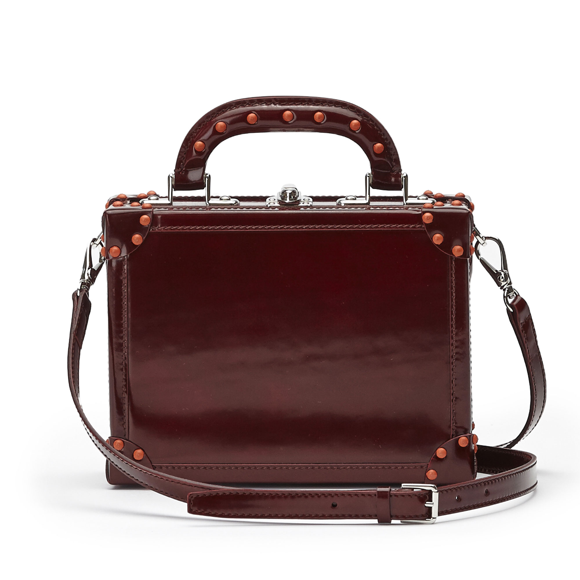 The chianti color brushed calf Mini Squared Bertoncina bag by Bertoni 1949 03