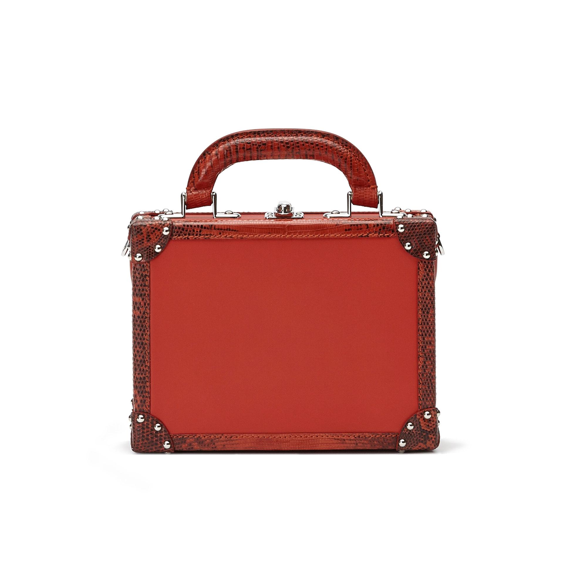 The chianti color french calf lizard Mini Squared Bertoncina bag by Bertoni 1949 01