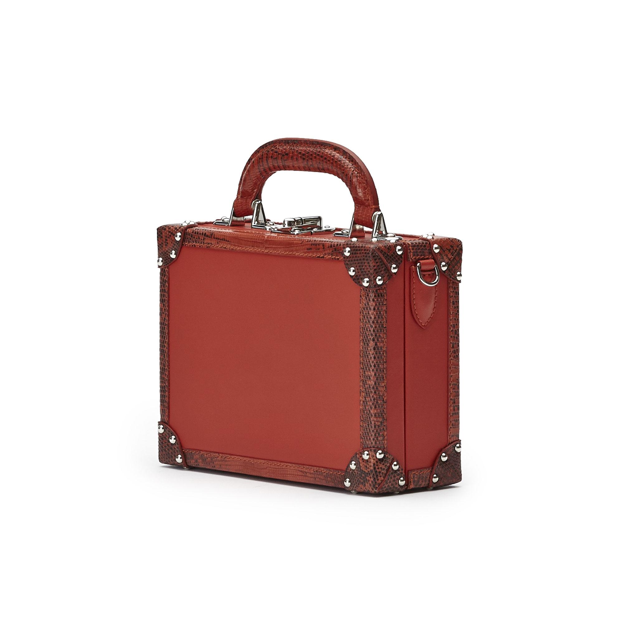 The chianti color french calf lizard Mini Squared Bertoncina bag by Bertoni 1949 02