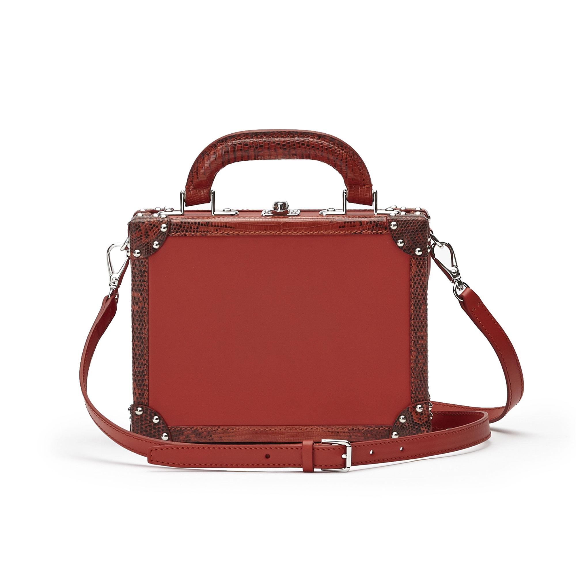 The chianti color french calf lizard Mini Squared Bertoncina bag by Bertoni 1949 03