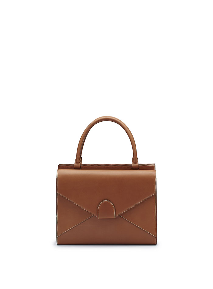 The cognac french calf Double Dafne bag by Bertoni 1949