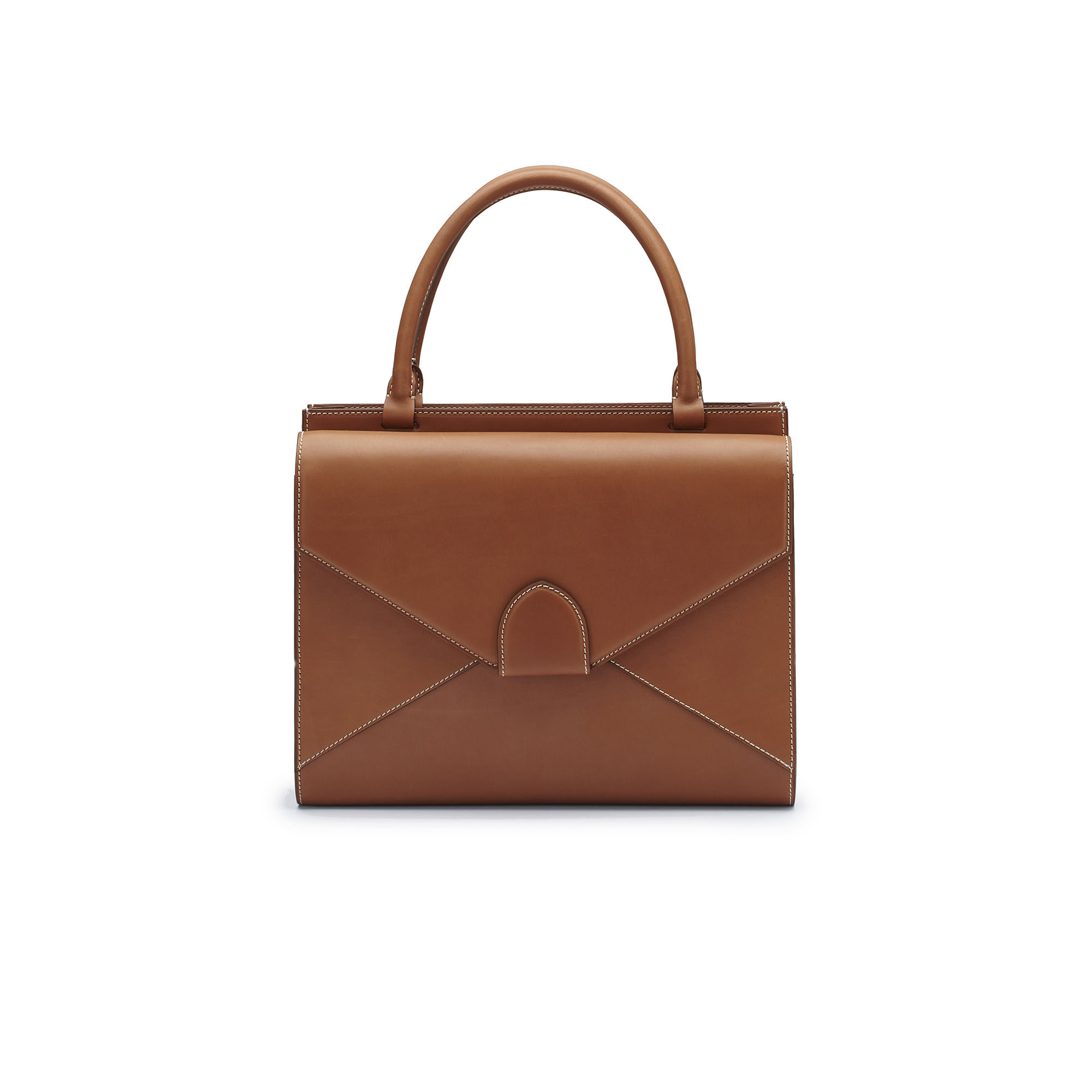 The cognac french calf Double Dafne bag by Bertoni 1949 01