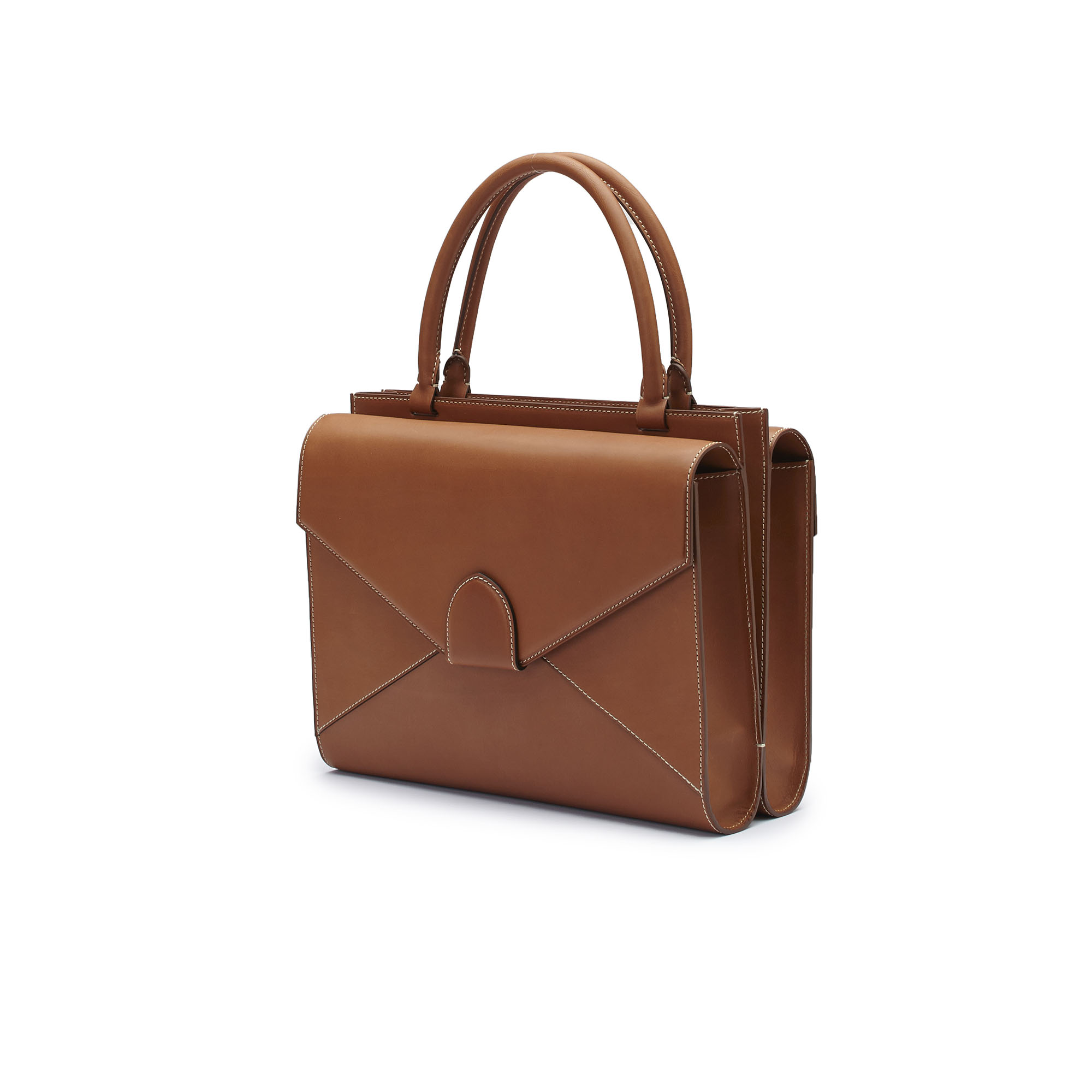 The cognac french calf Double Dafne bag by Bertoni 1949 02