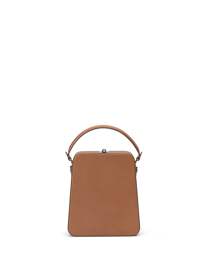 The cognac french calf Tall Bertoncina bag by Bertoni 1949