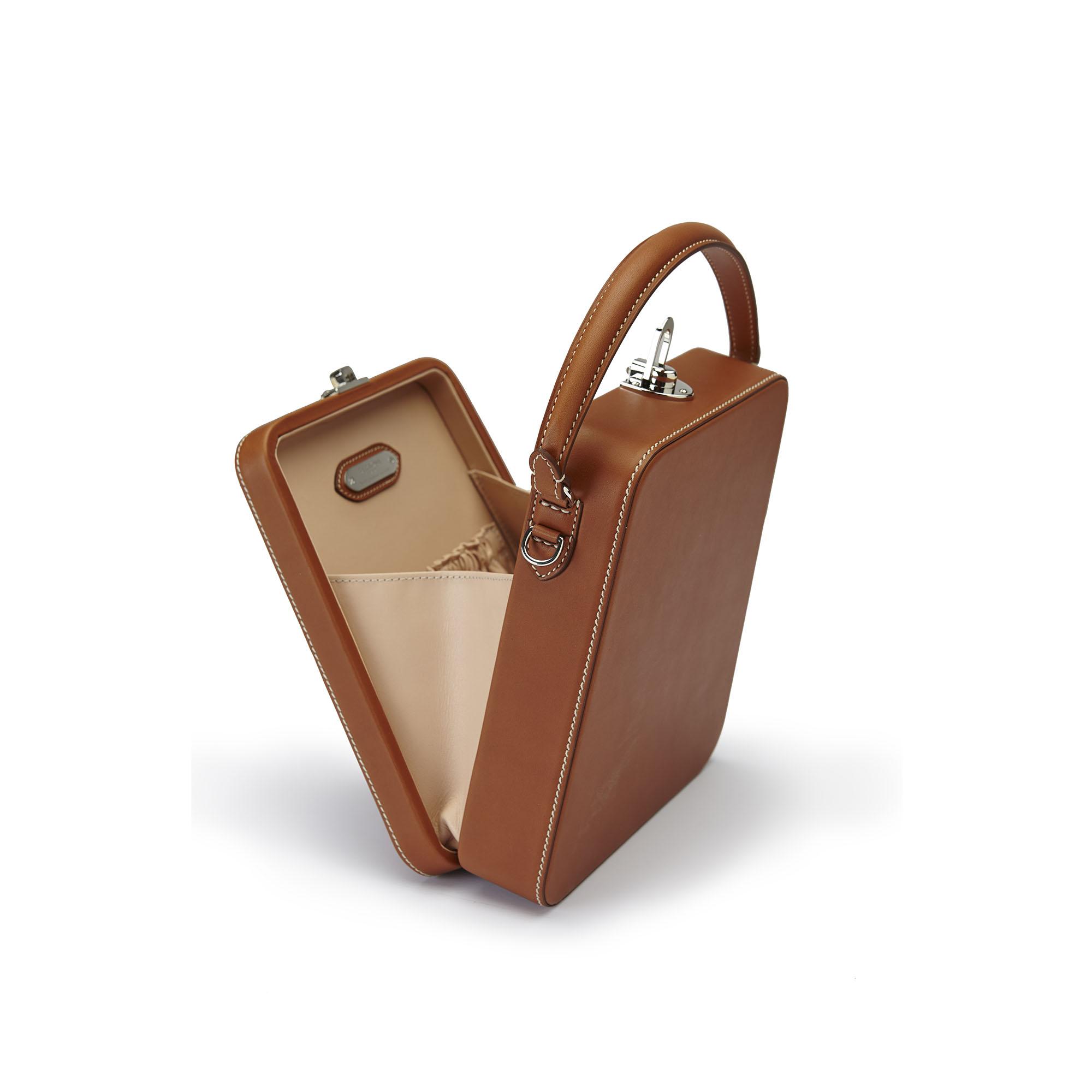 The cognac french calf Tall Bertoncina bag by Bertoni 1949 04