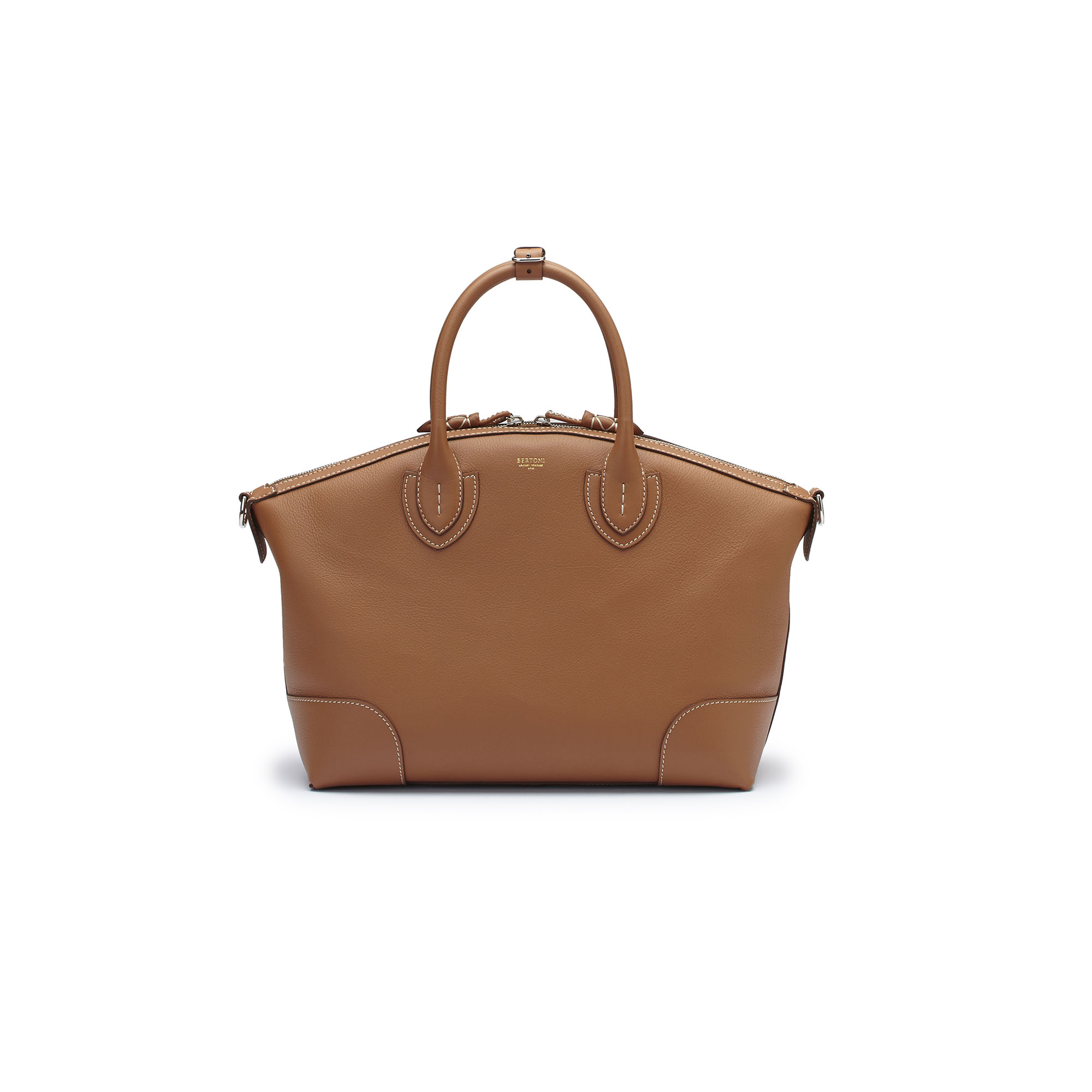 The cognac soft calf Anija bag by Bertoni 1949 01