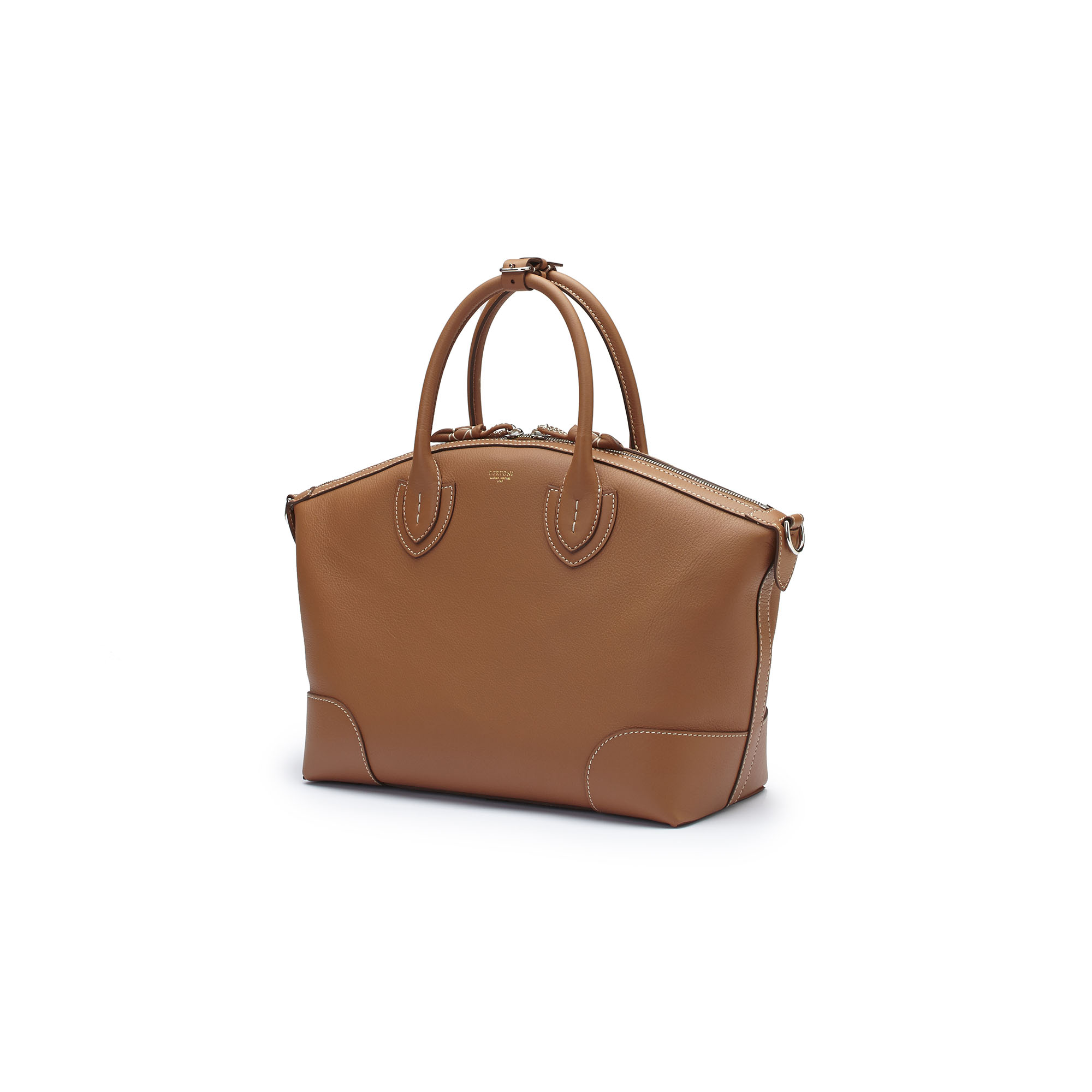 The cognac soft calf Anija bag by Bertoni 1949 02