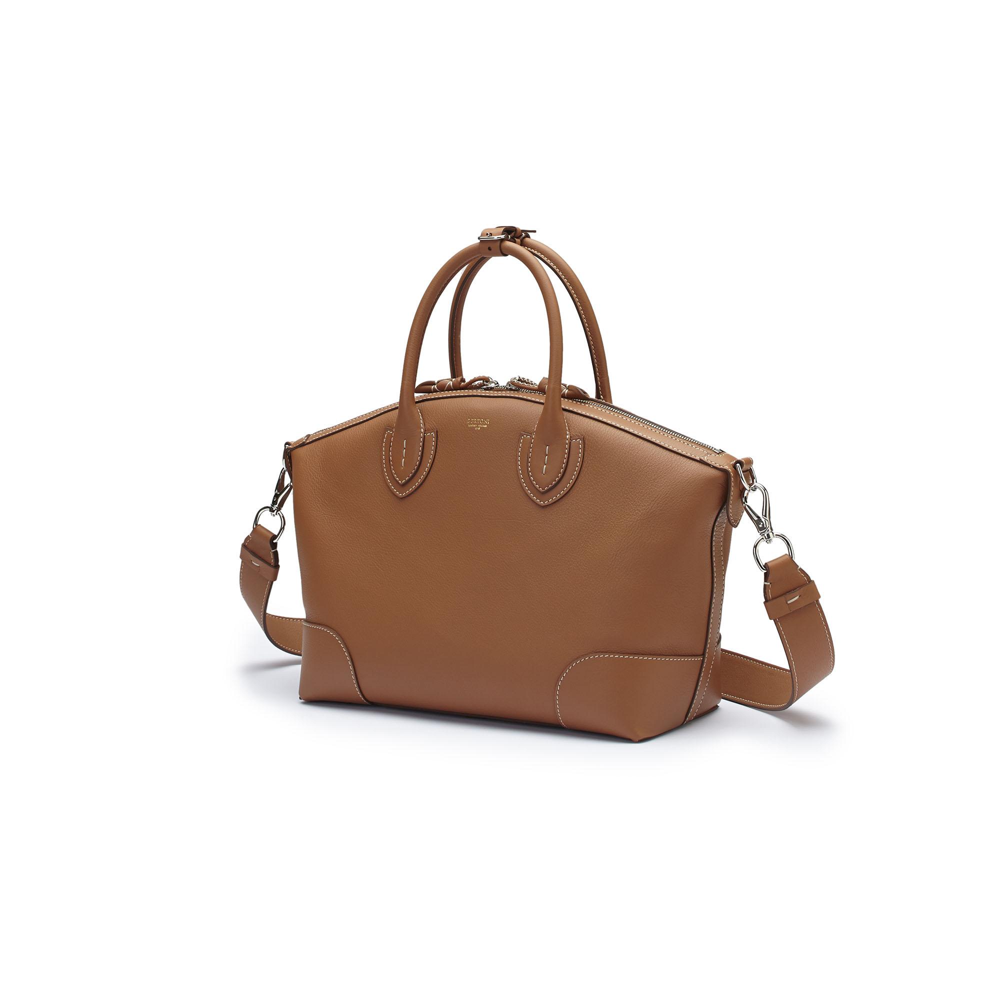The cognac soft calf Anija bag by Bertoni 1949 04