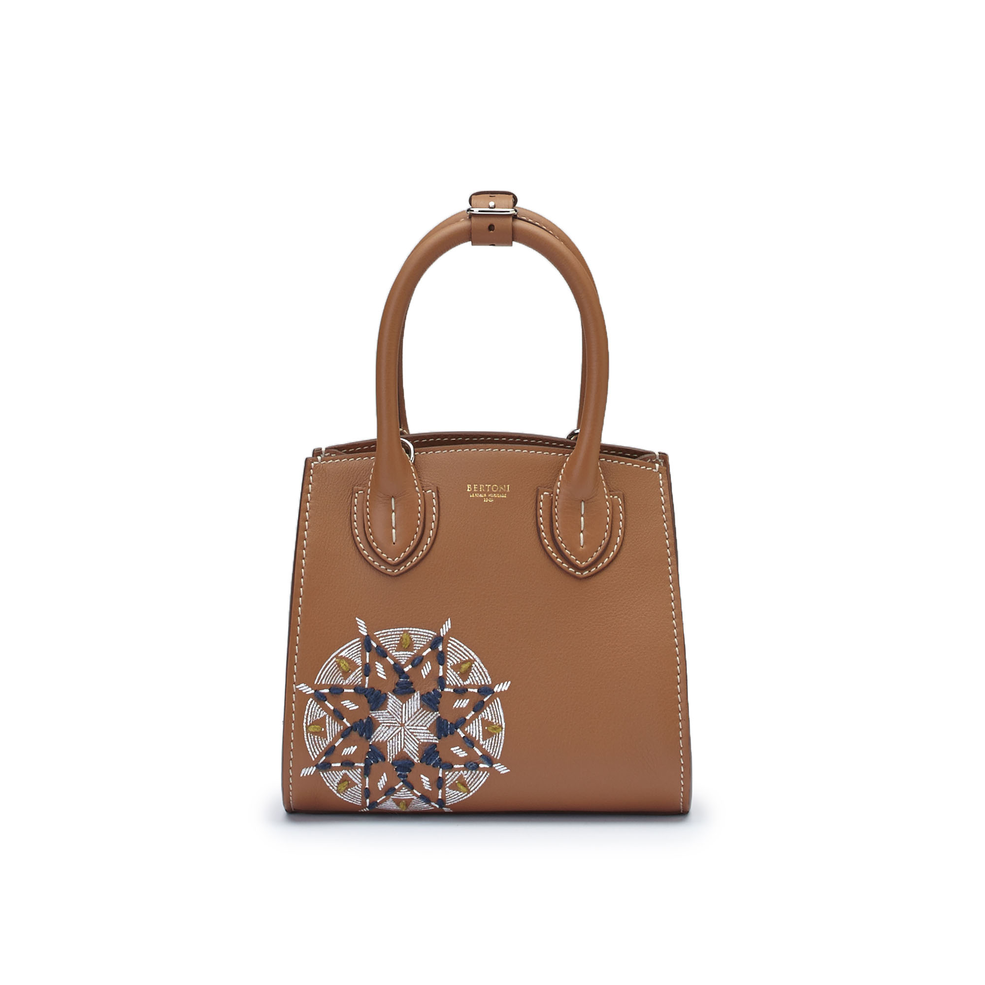 The cognac soft calf Darcy bag With star embroidered and painted with hands by Bertoni 1949 01