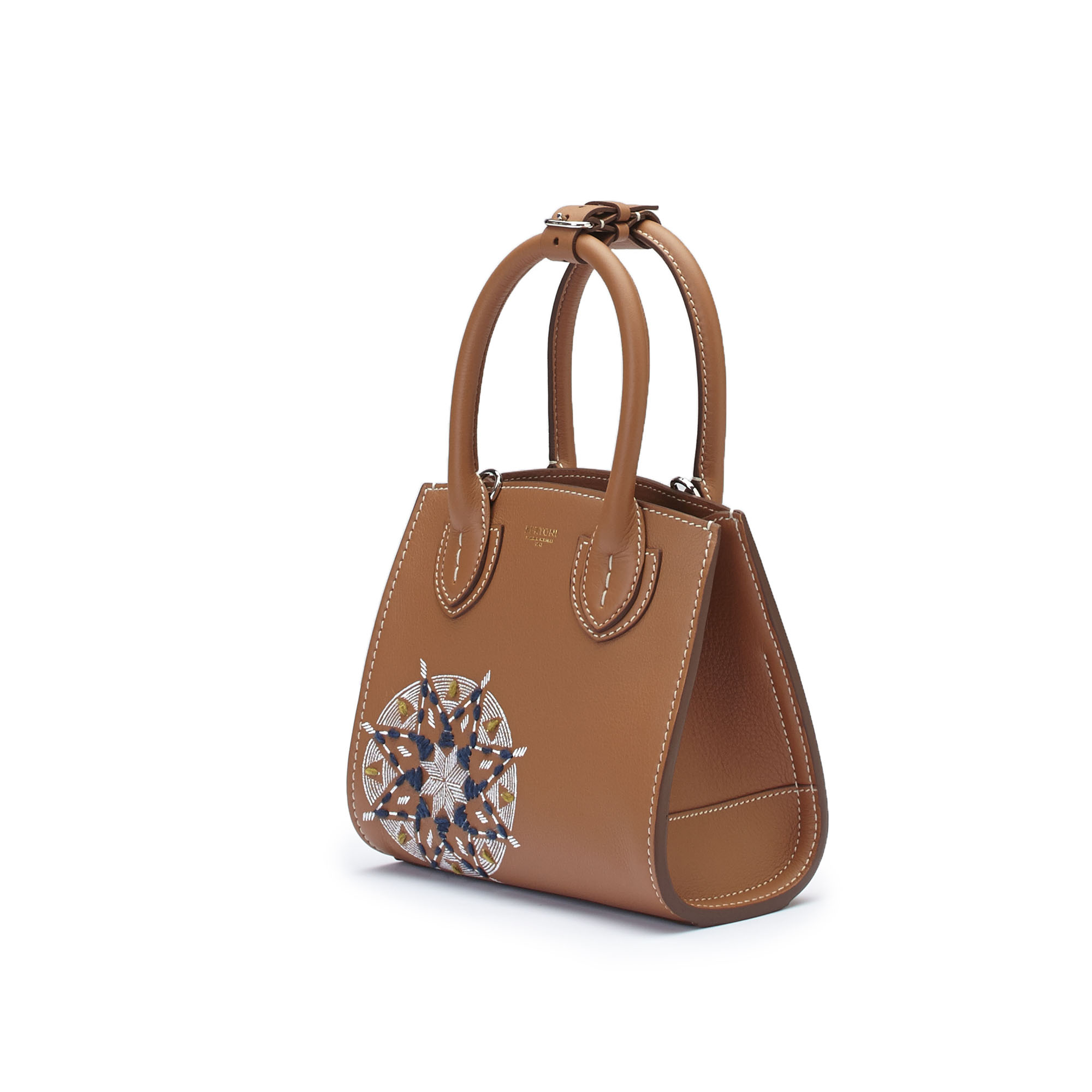 The cognac soft calf Darcy bag With star embroidered and painted with hands by Bertoni 1949 03