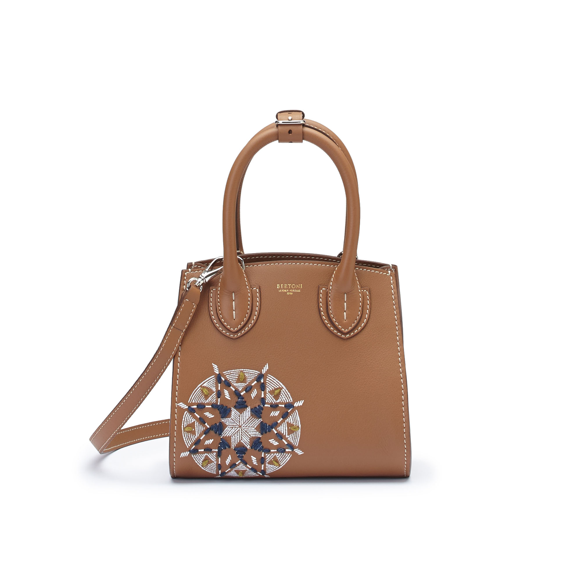The cognac soft calf Darcy bag With star embroidered and painted with hands by Bertoni 1949 02