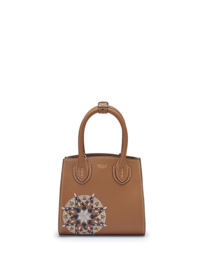 The cognac soft calf Darcy bag With star embroidered and painted with hands by Bertoni 1949