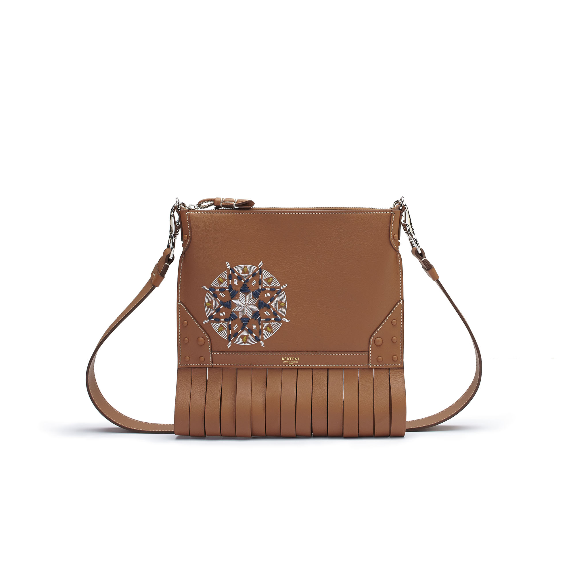 The cognac soft calf Franche Zip Pouch bag with painted and embroidered star by Bertoni 1949 01