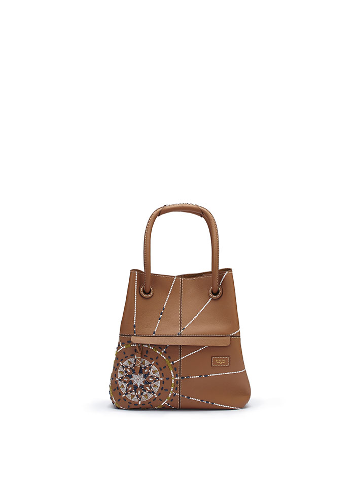 The cognac with painted and embroidered star Satchel bag by Bertoni 1949
