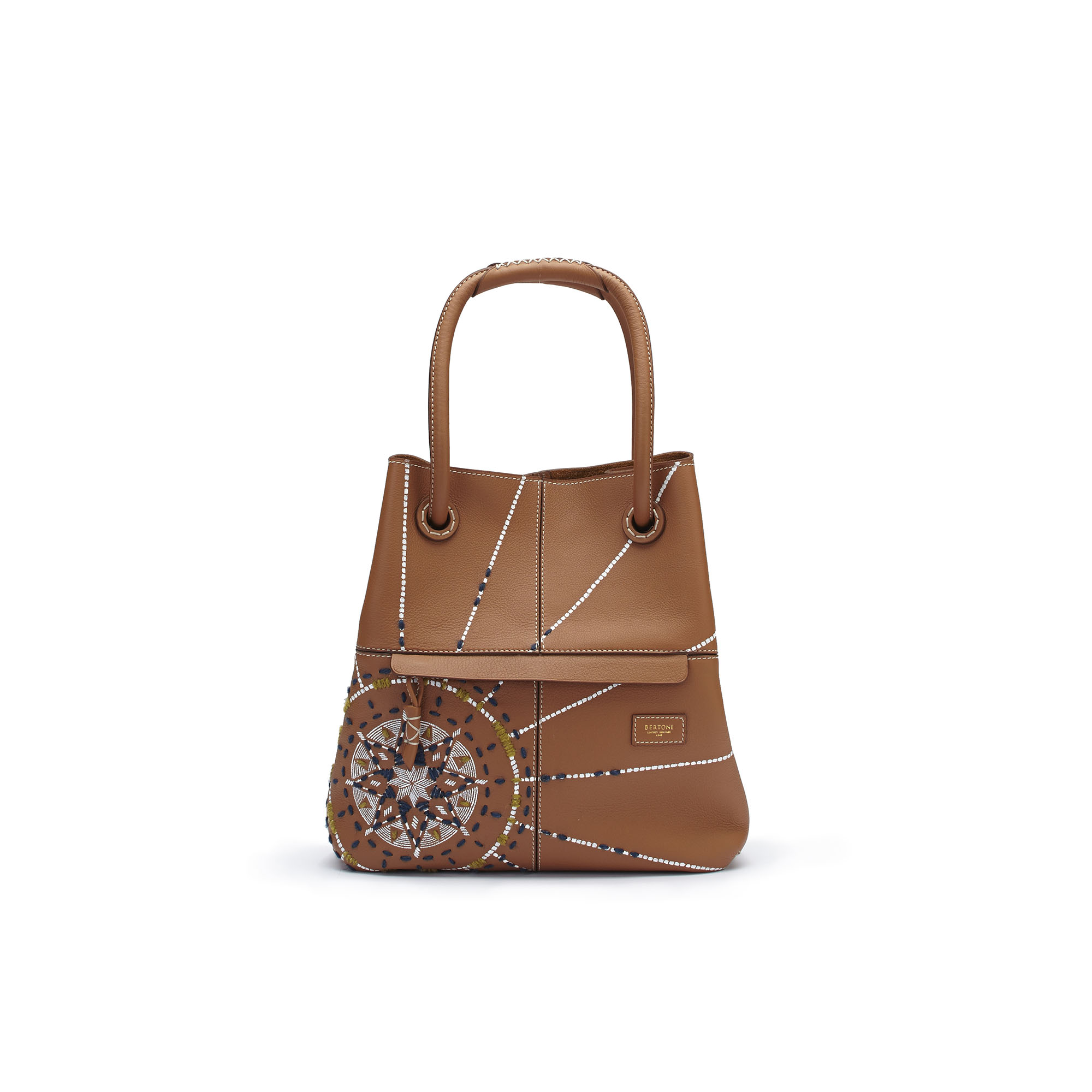 The cognac with painted and embroidered star Satchel bag by Bertoni 1949 01