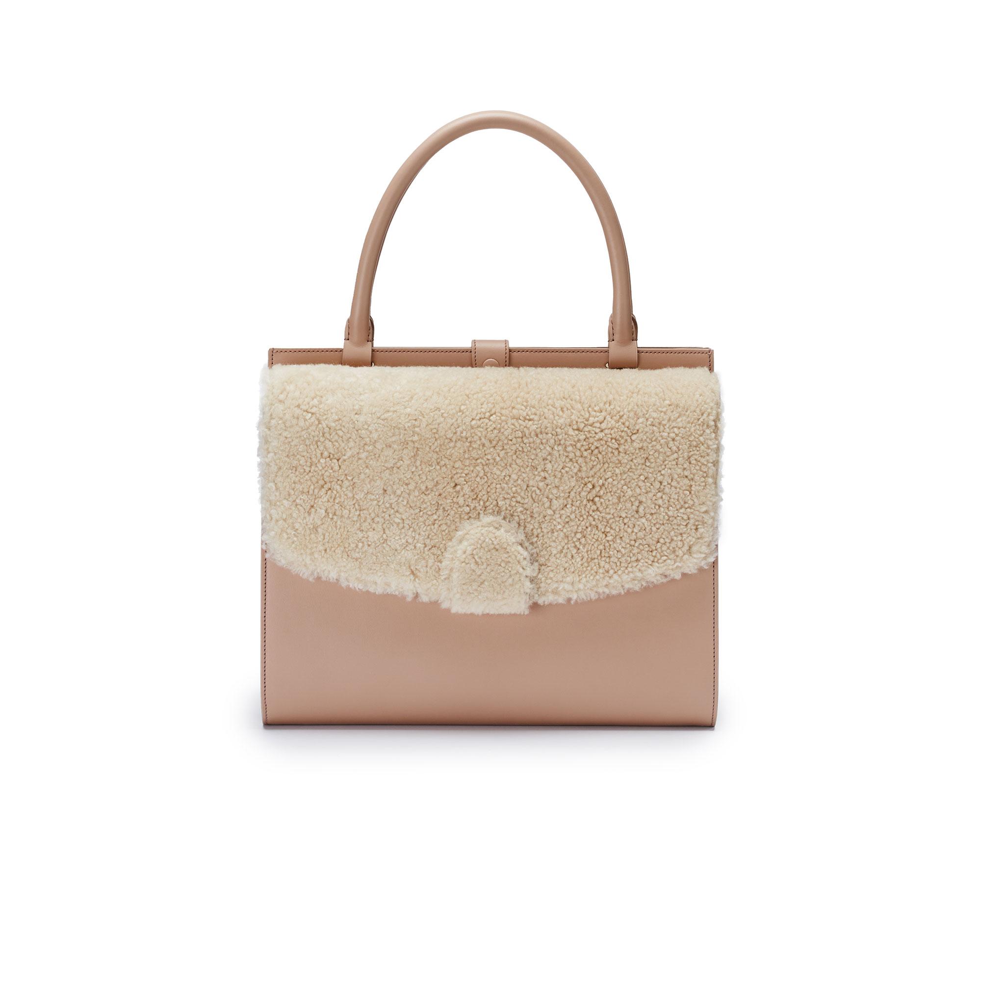 Double-Dafne-nude-rose-shearling-bag-Bertoni-1949