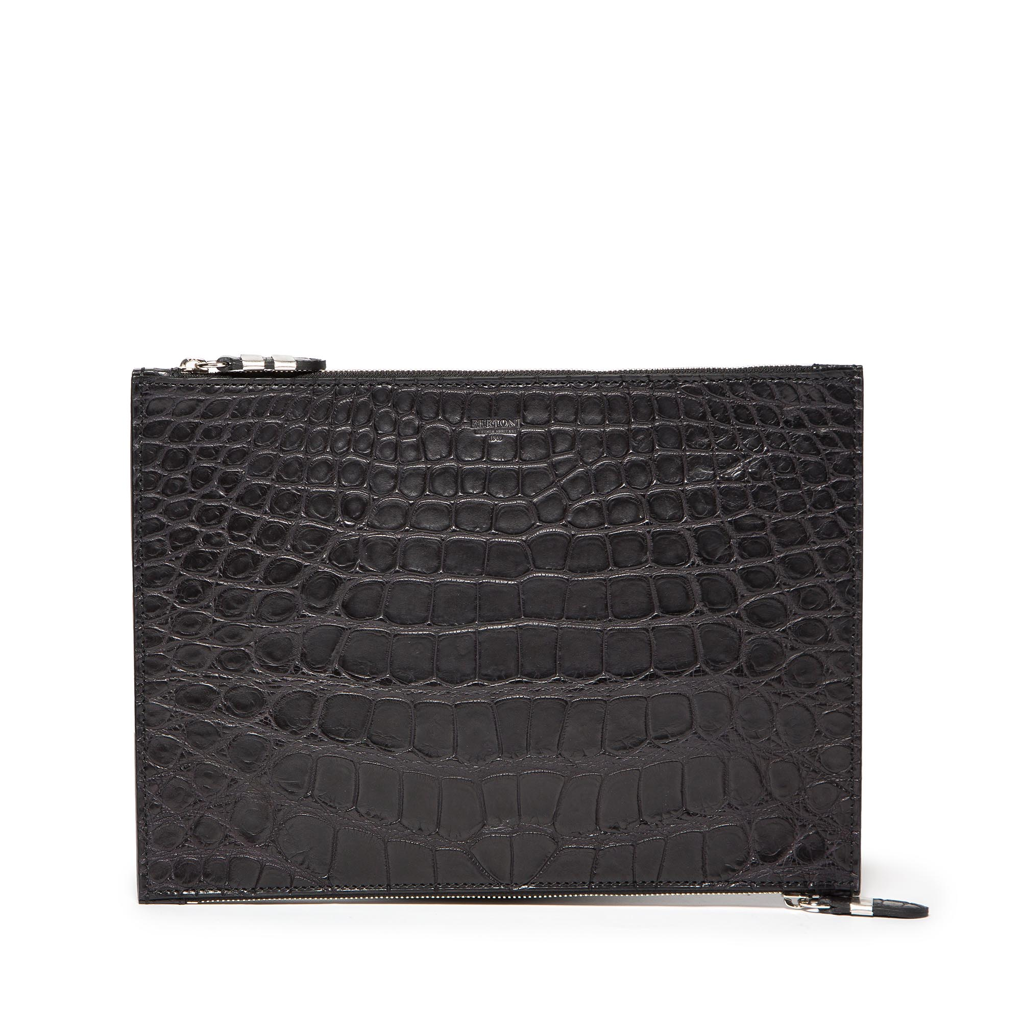 Double-Zipped-Pouch-black-alligator-bag-Bertoni-1949