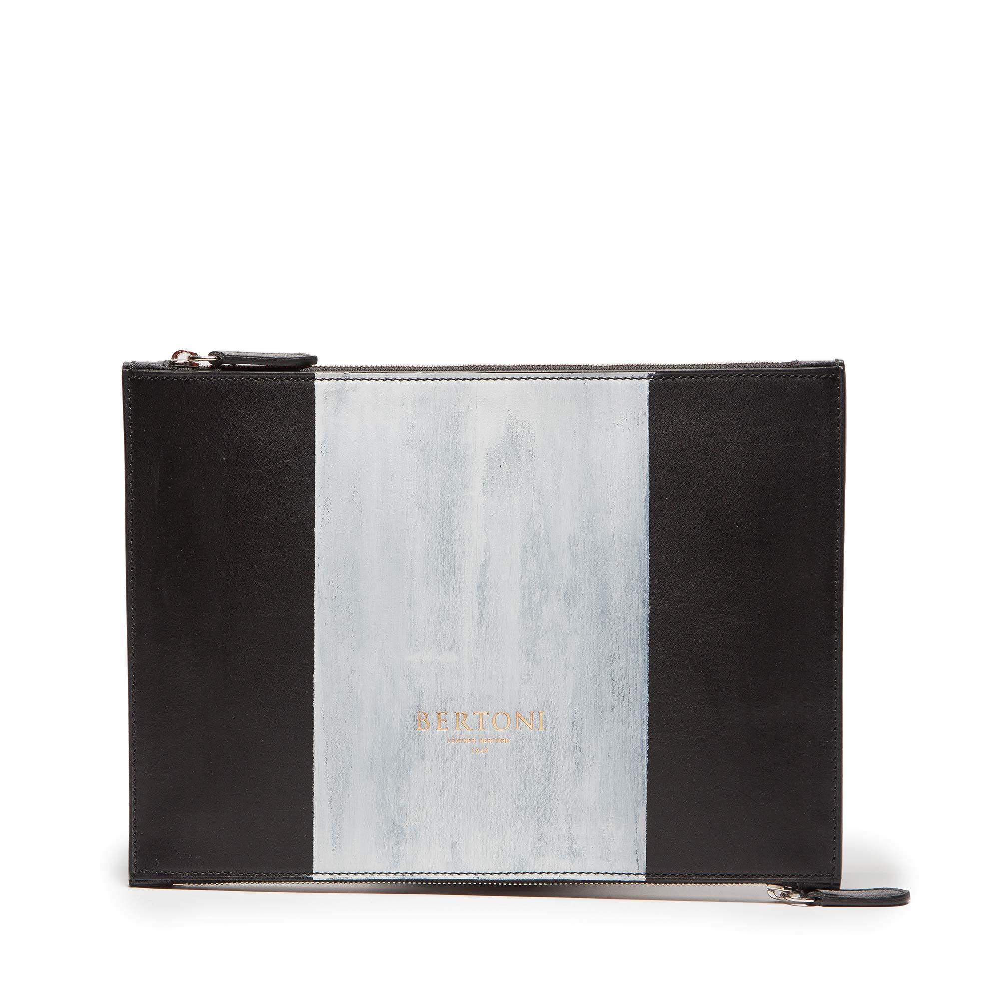 Double-Zipped-Pouch-black-ivory-rock-calf-bag-Bertoni-1949