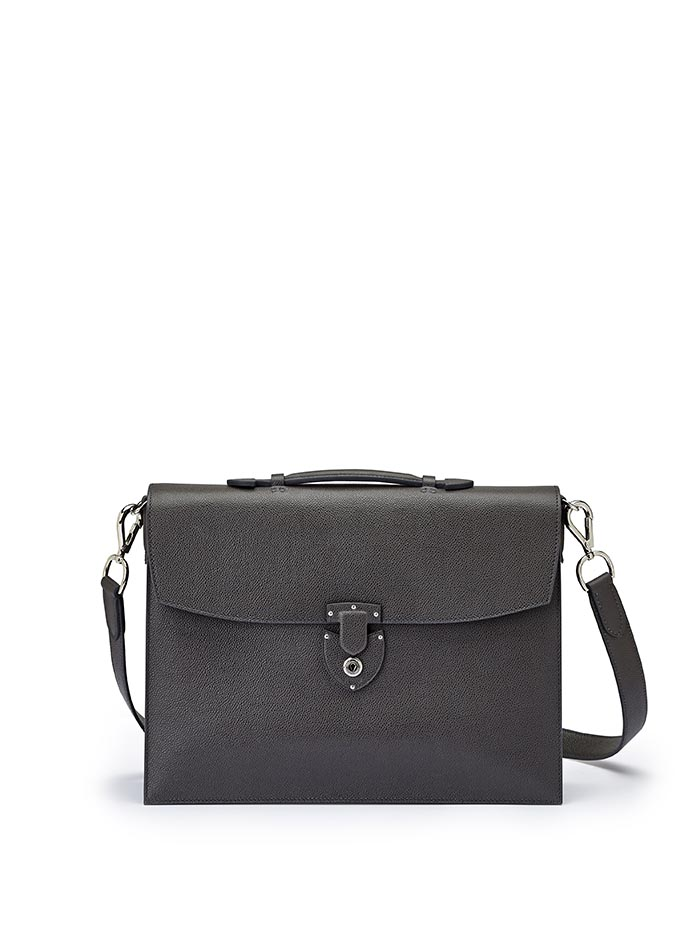 The gray grain calf Double Gusset Briefcase by Bertoni 1949