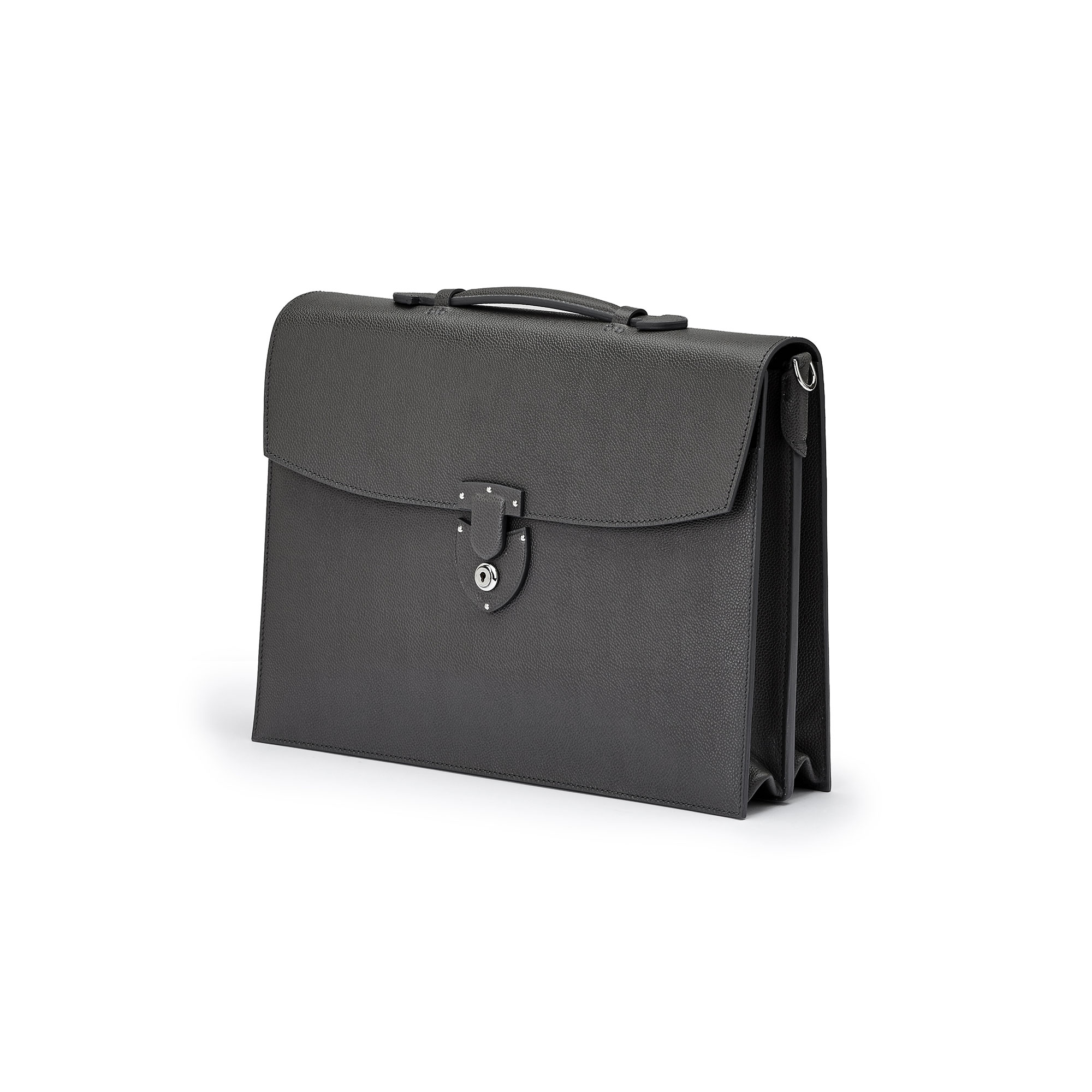 The gray grain calf Double Gusset Briefcase by Bertoni 1949 02