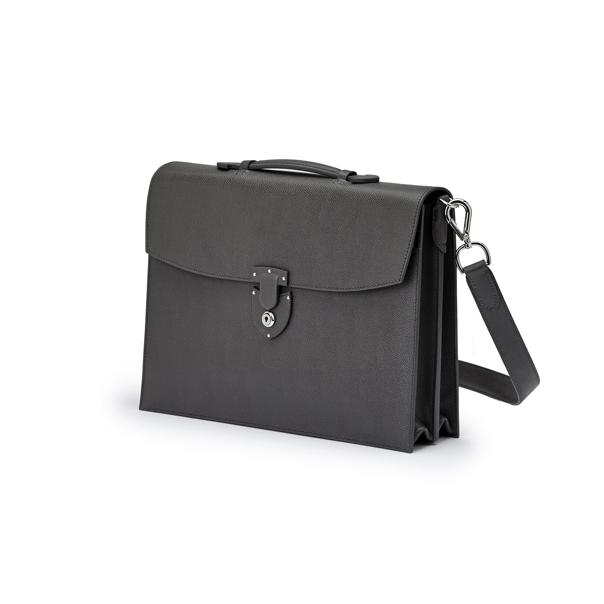The gray grain calf Double Gusset Briefcase by Bertoni 1949 04