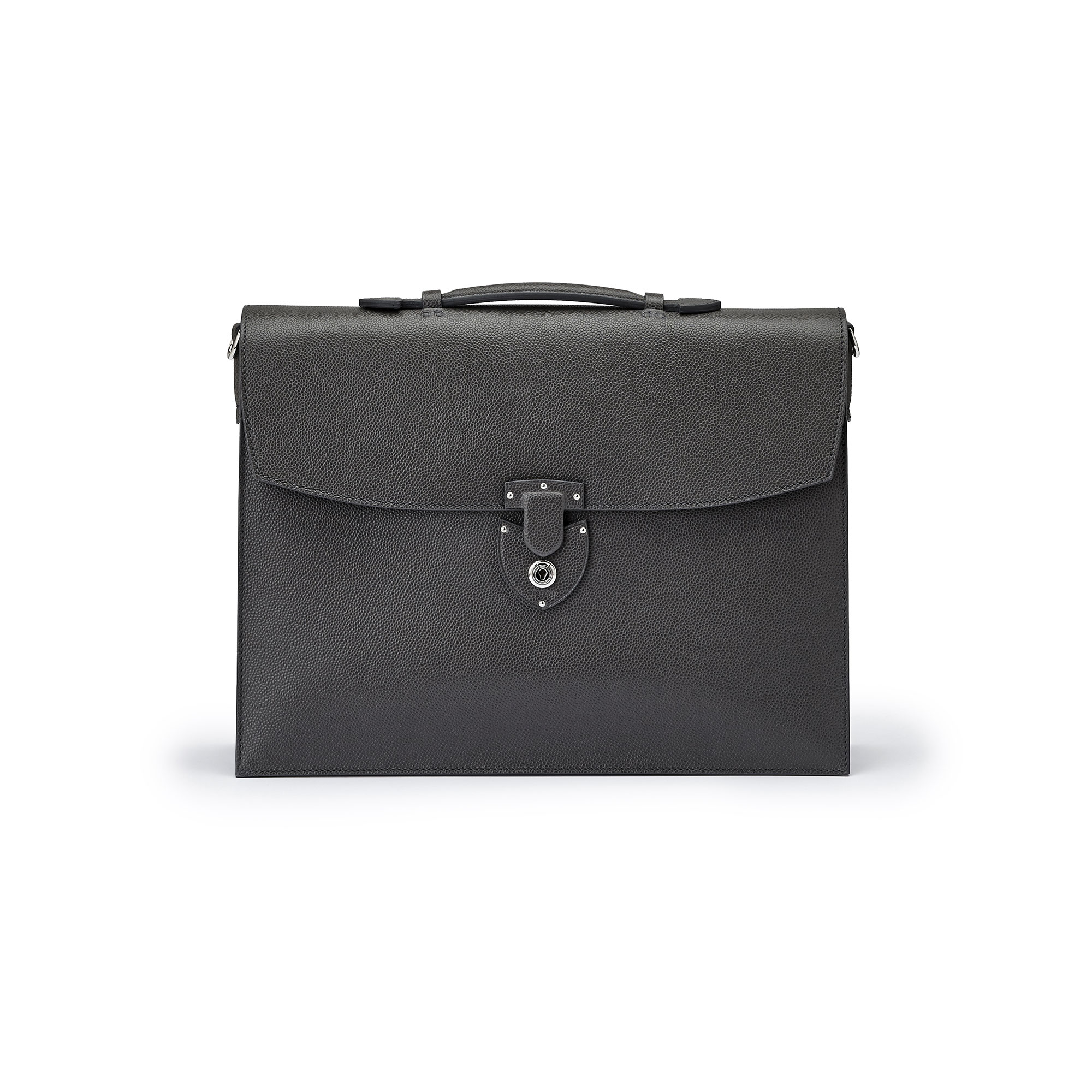 The gray grain calf Double Gusset Briefcase by Bertoni 1949 01