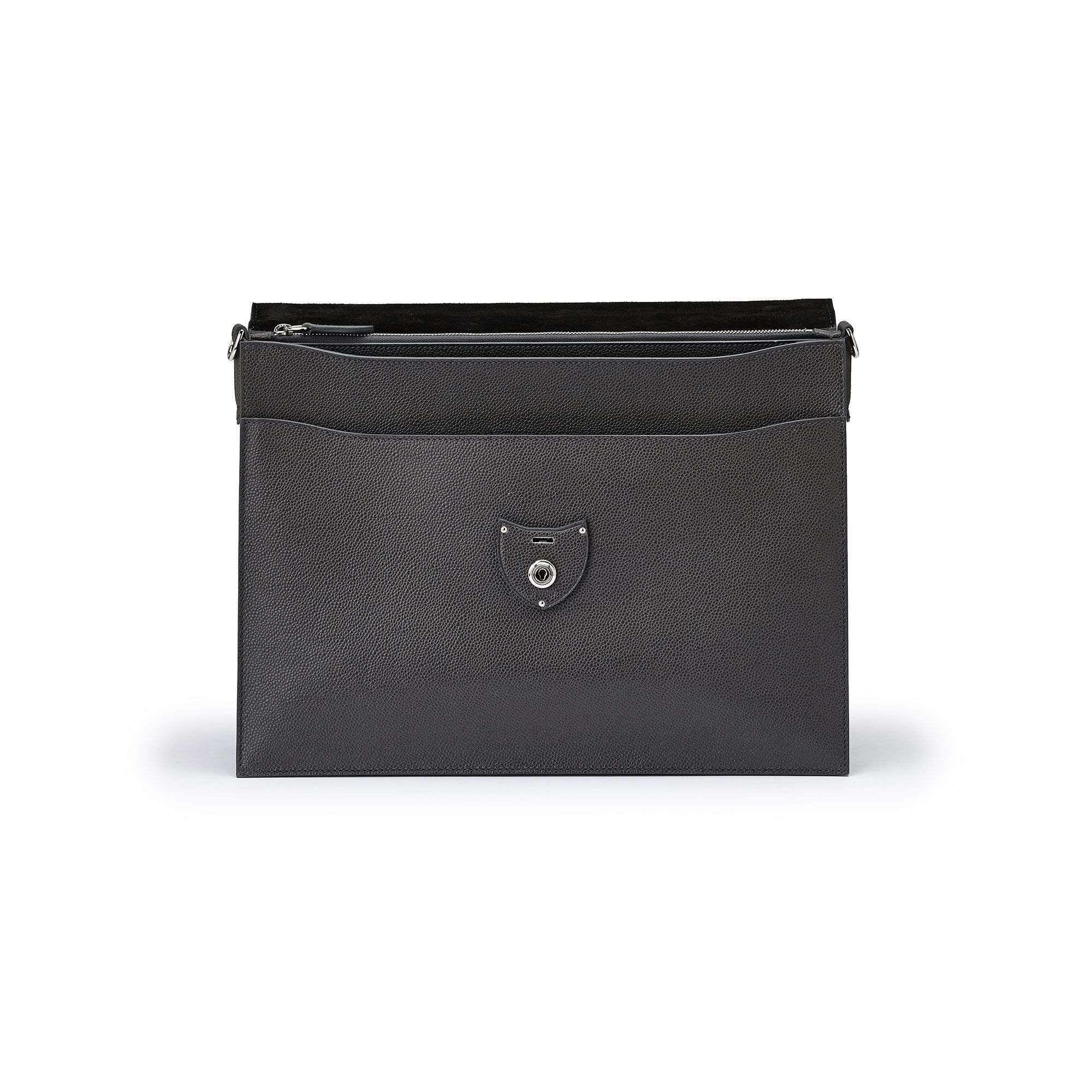 The gray grain calf Double Gusset Briefcase by Bertoni 1949 05