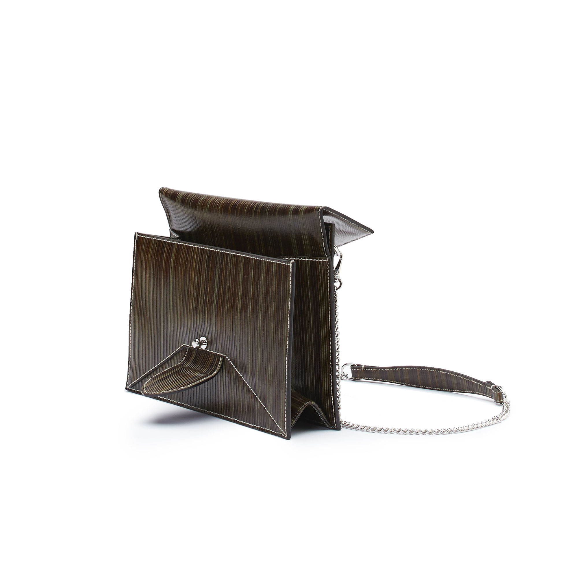 The green wood leather Dafne Chain bag by Bertoni 1949 03