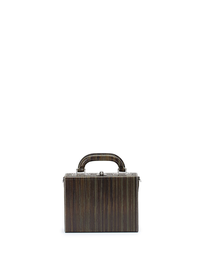 The green wood leather Squared Bertoncina suitcase by Bertoni 1949
