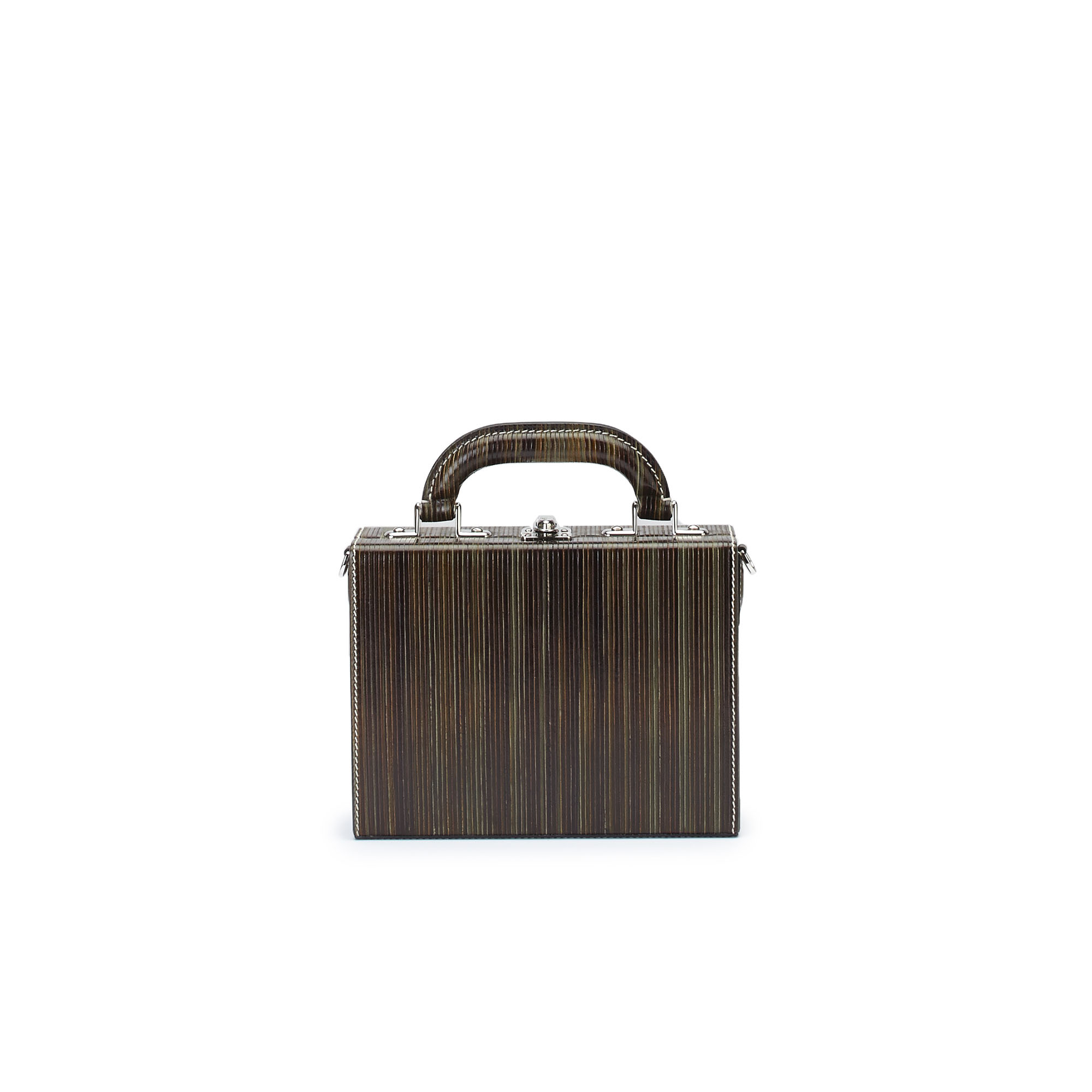 The green wood leather Squared Bertoncina suitcase by Bertoni 1949 01