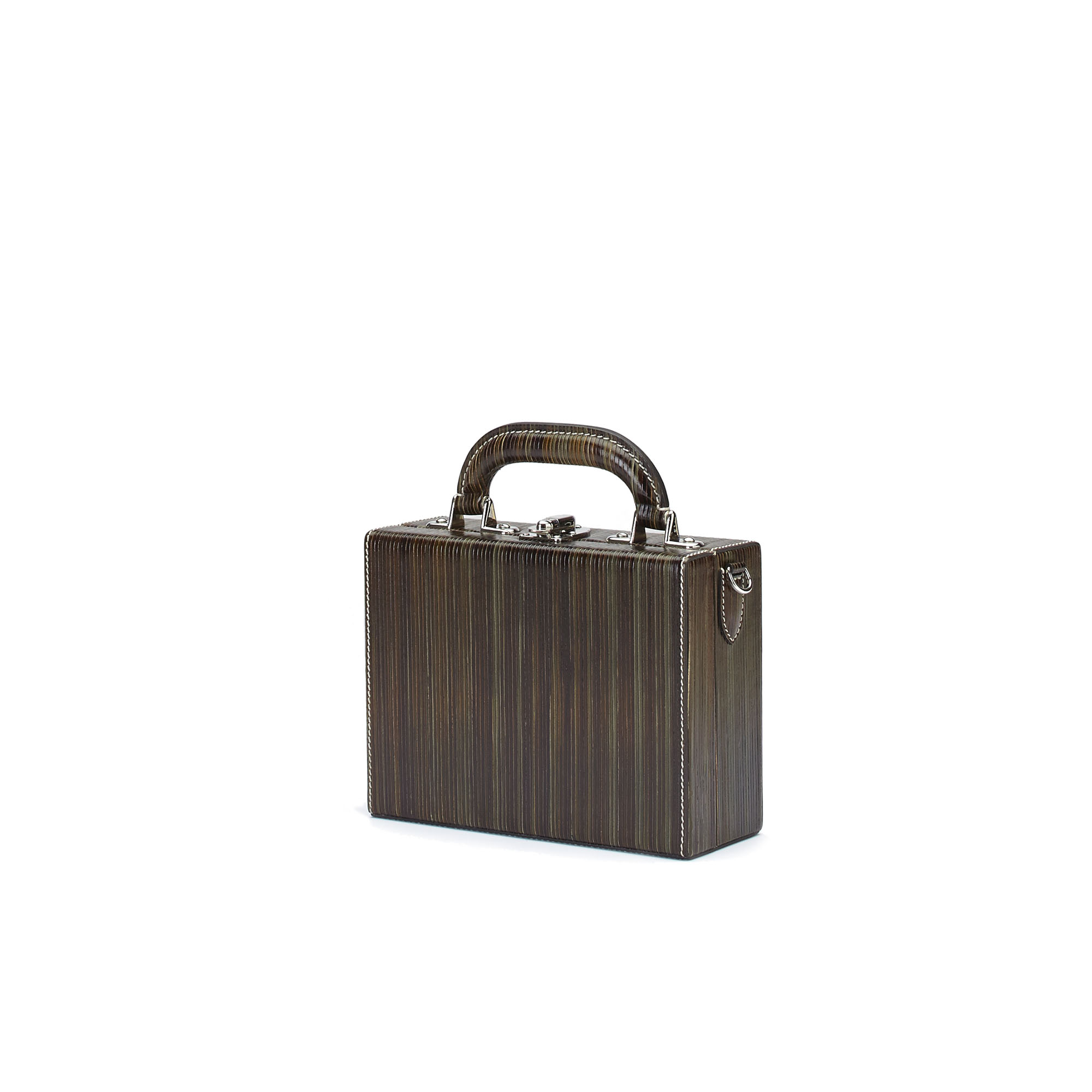 The green wood leather Squared Bertoncina suitcase by Bertoni 1949 02