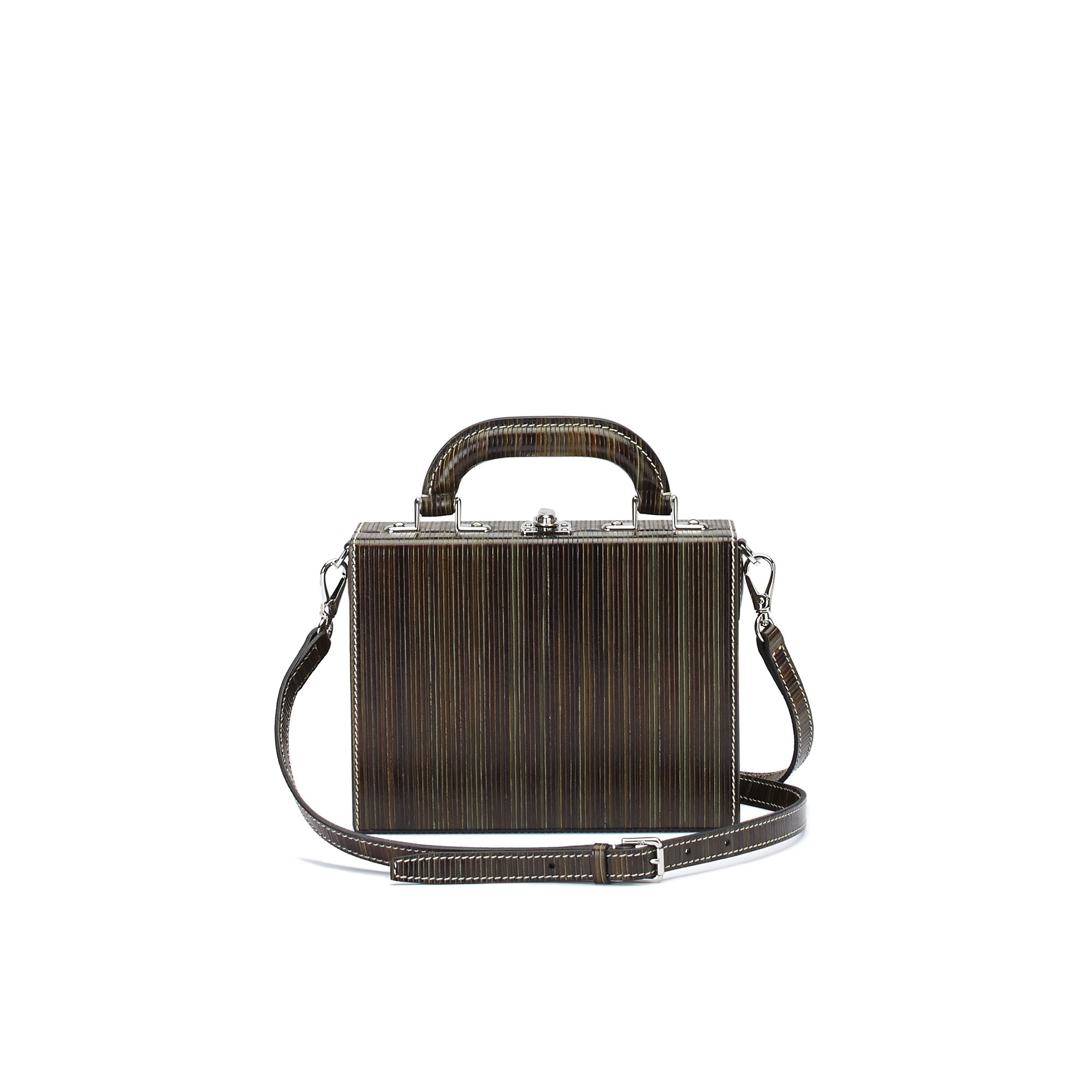 The green wood leather Squared Bertoncina suitcase by Bertoni 1949 03