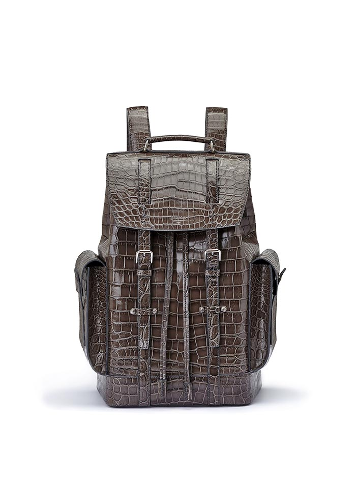 The grey alligator Traveller Backpack by Bertoni 1949