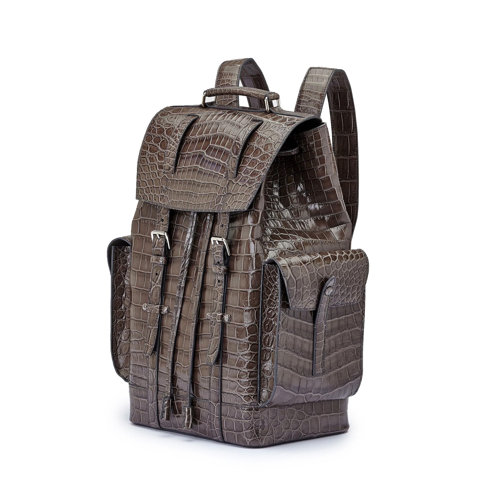 The grey alligator Traveller Backpack by Bertoni 1949 02