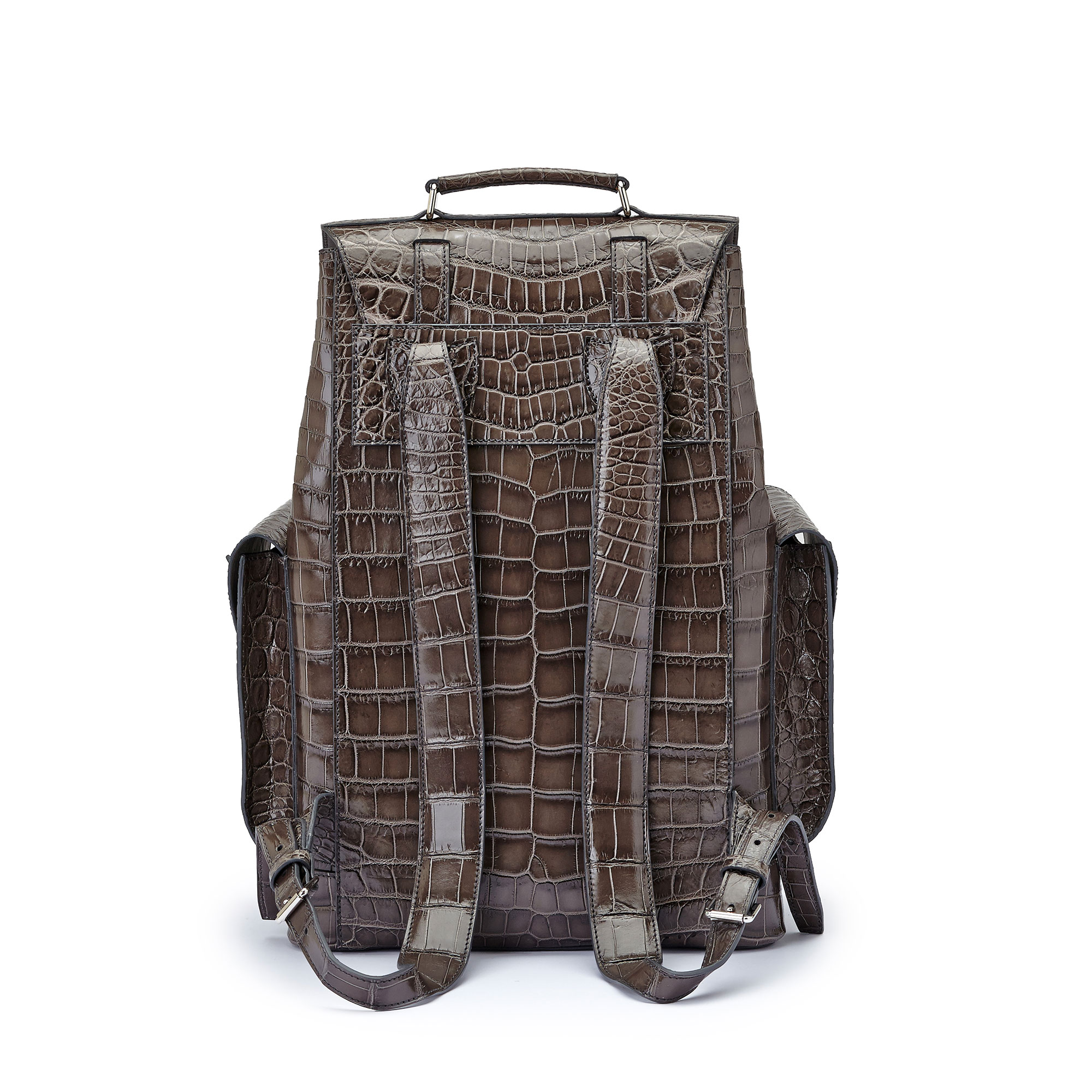 The grey alligator Traveller Backpack by Bertoni 1949 03