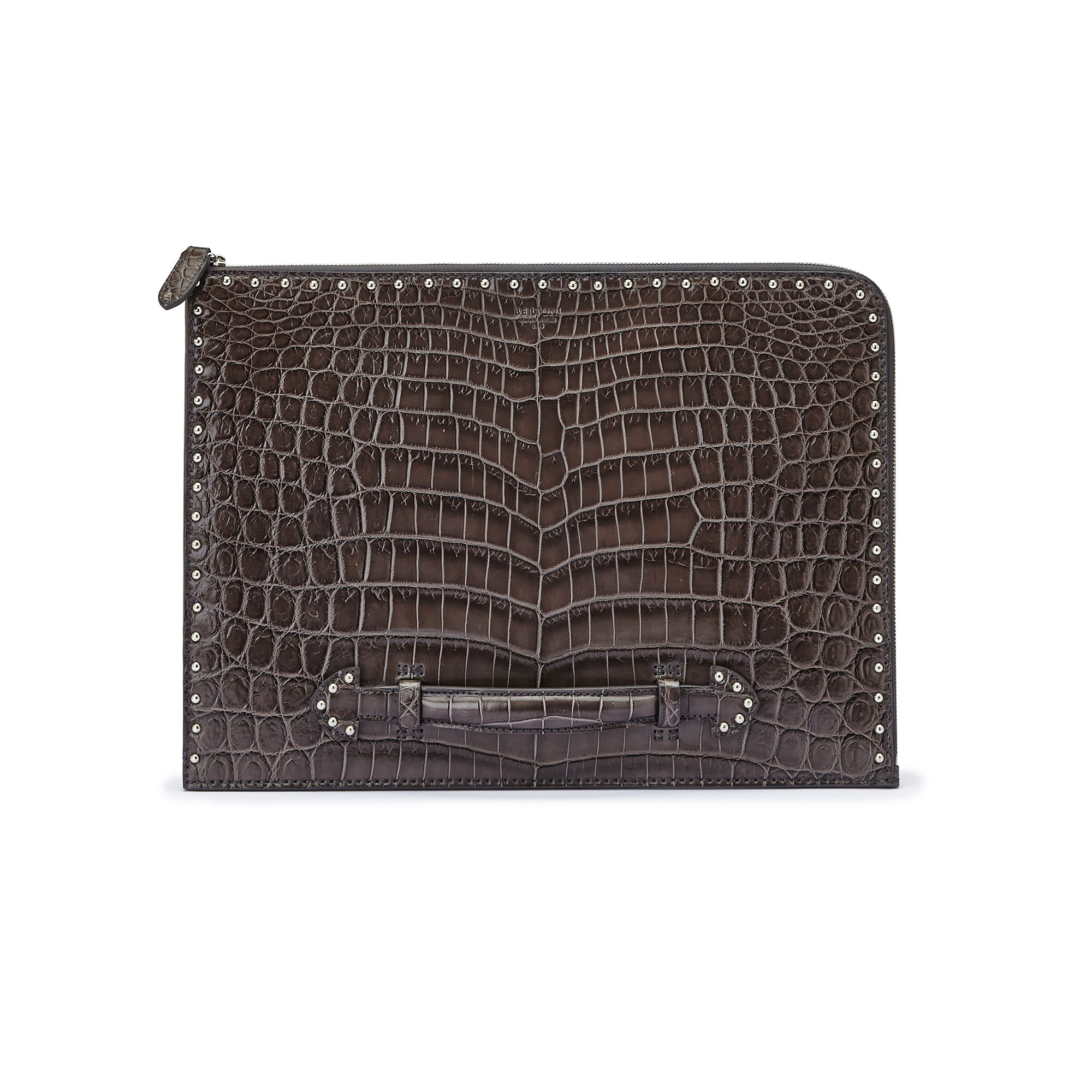The grey with studded alligator Handle Zip Folio by Bertoni 1949 01