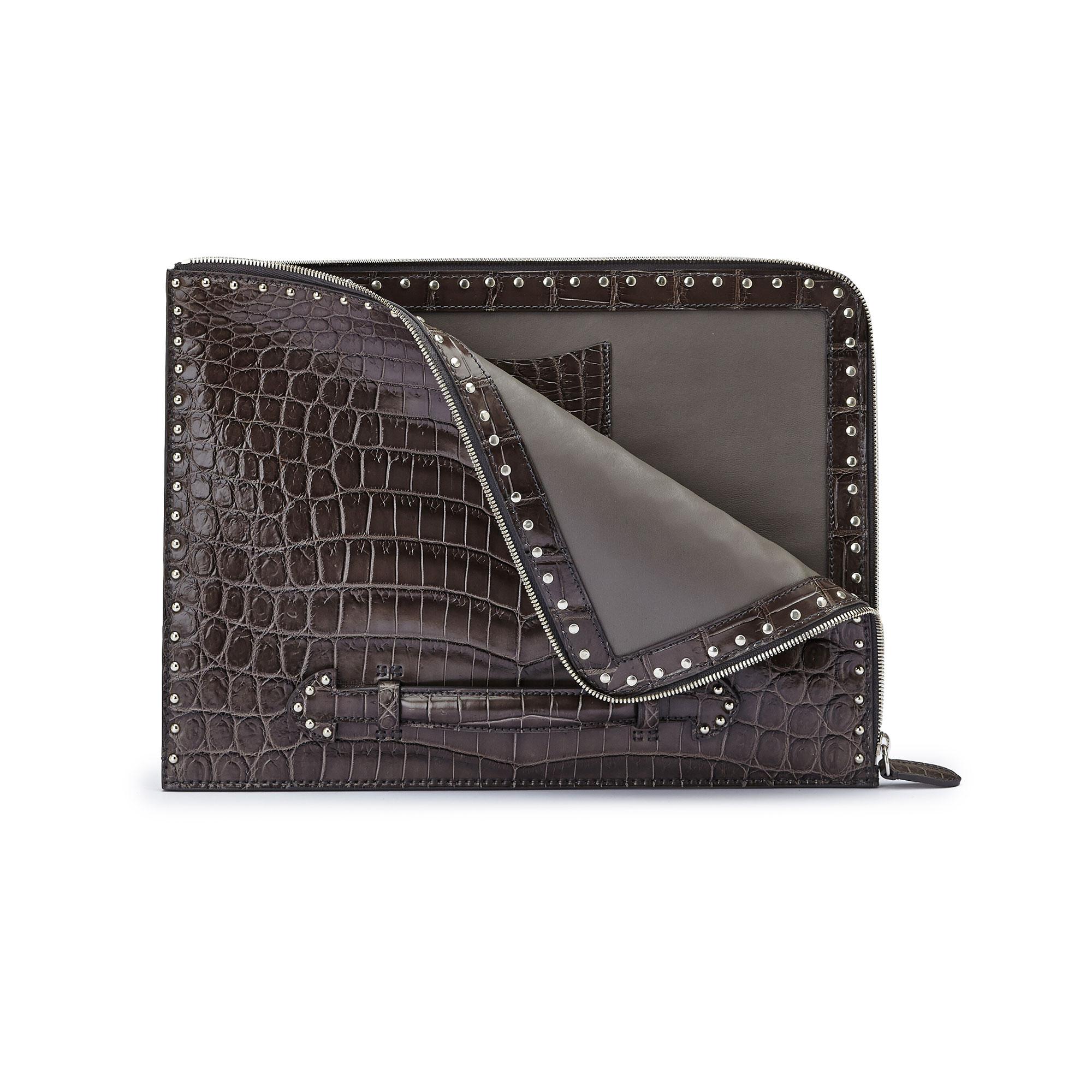 The grey with studded alligator Handle Zip Folio by Bertoni 1949 02