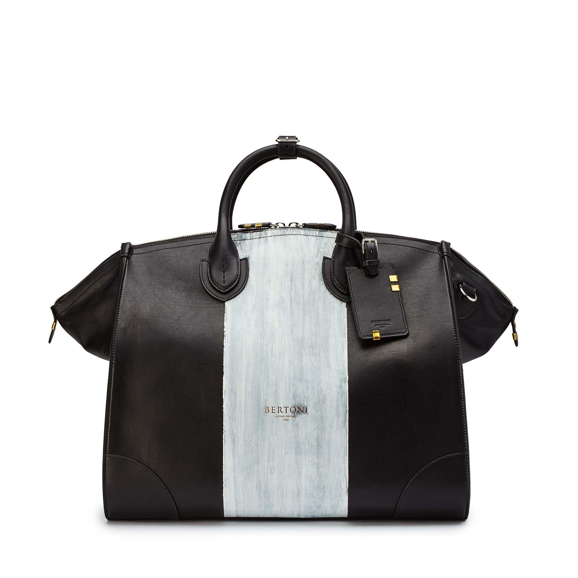 Gulliver-black-ivory-rock-calf-bag-Bertoni-1949