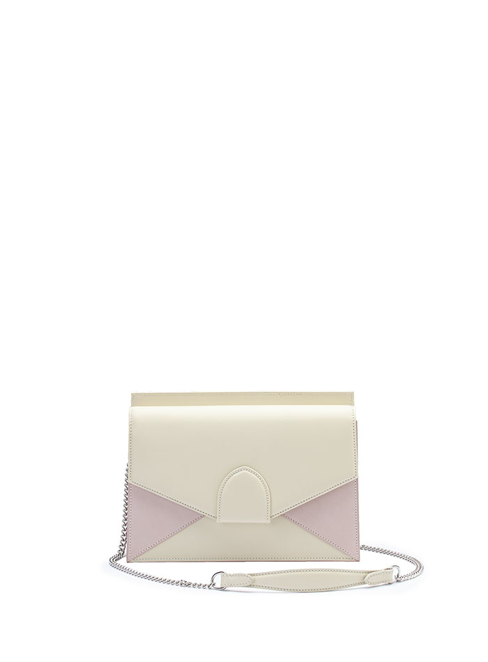 The ivory and pink french calf Dafne Chain bag by Bertoni 1949