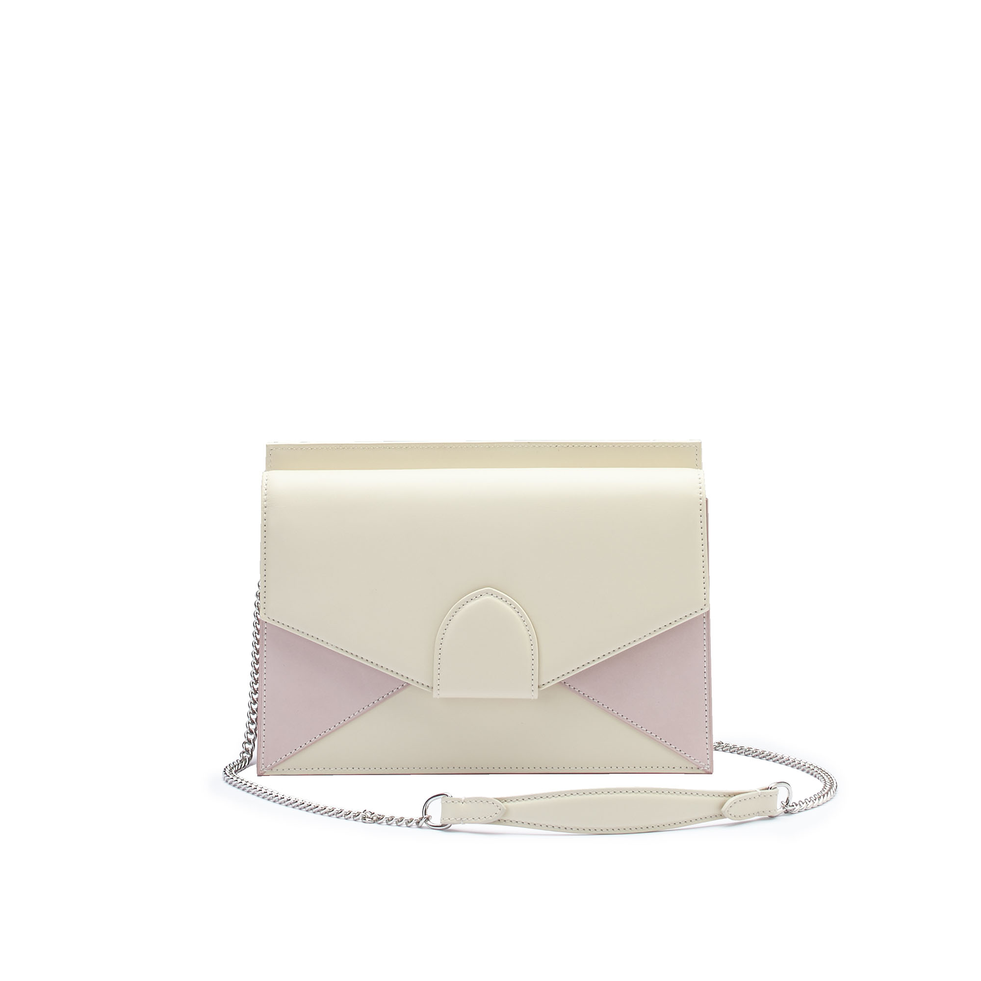 The ivory and pink french calf Dafne Chain bag by Bertoni 1949 01