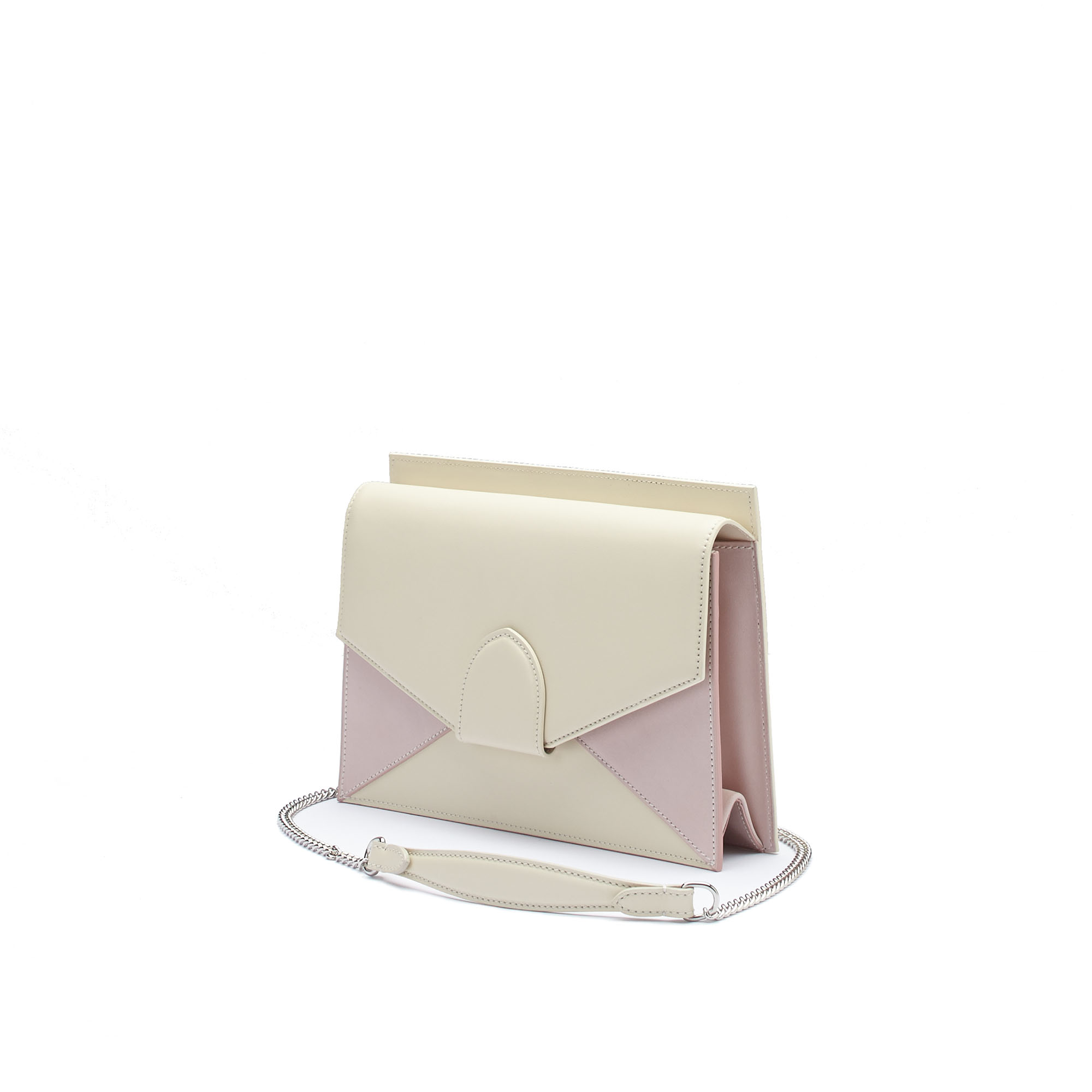 The ivory and pink french calf Dafne Chain bag by Bertoni 1949 02