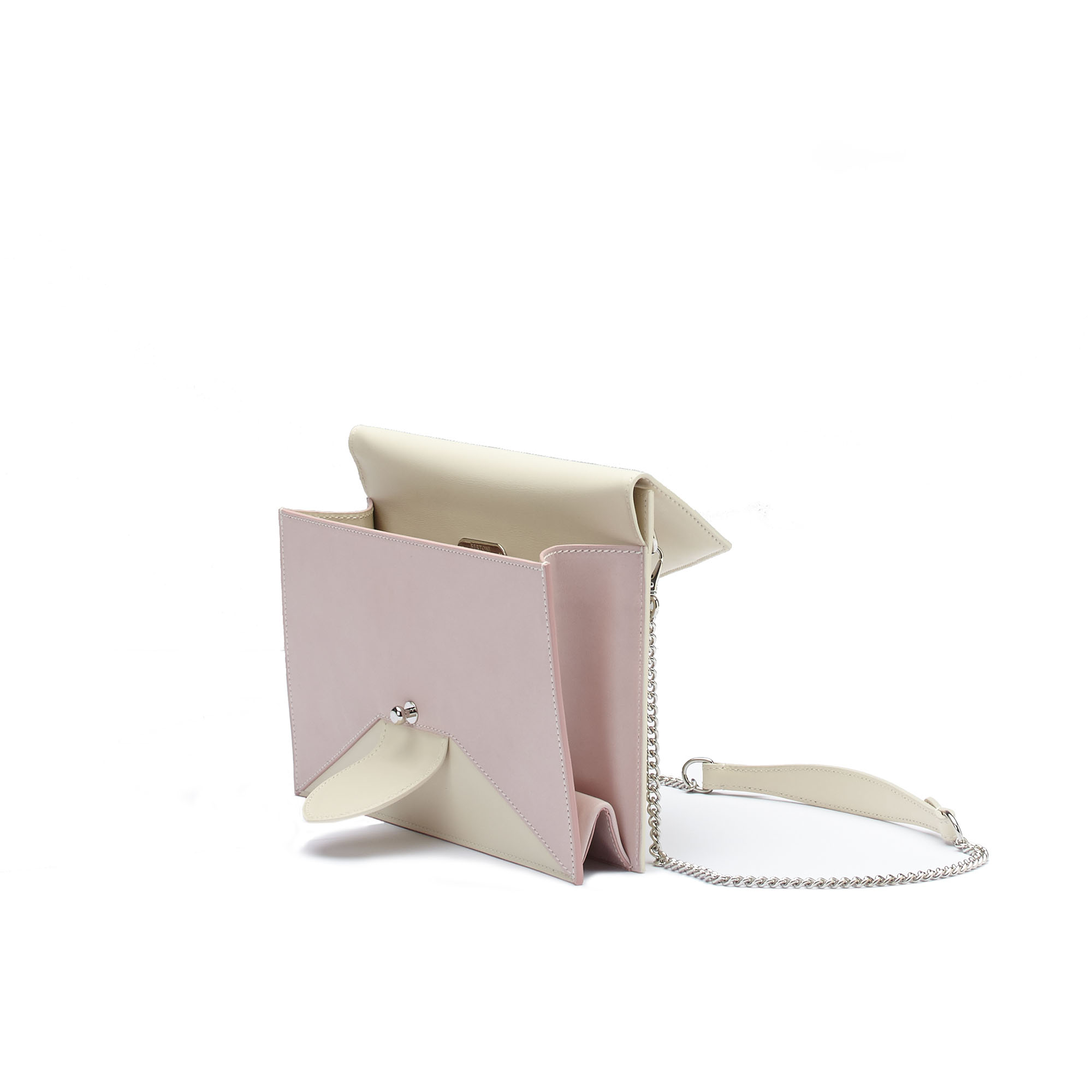 The ivory and pink french calf Dafne Chain bag by Bertoni 1949 03