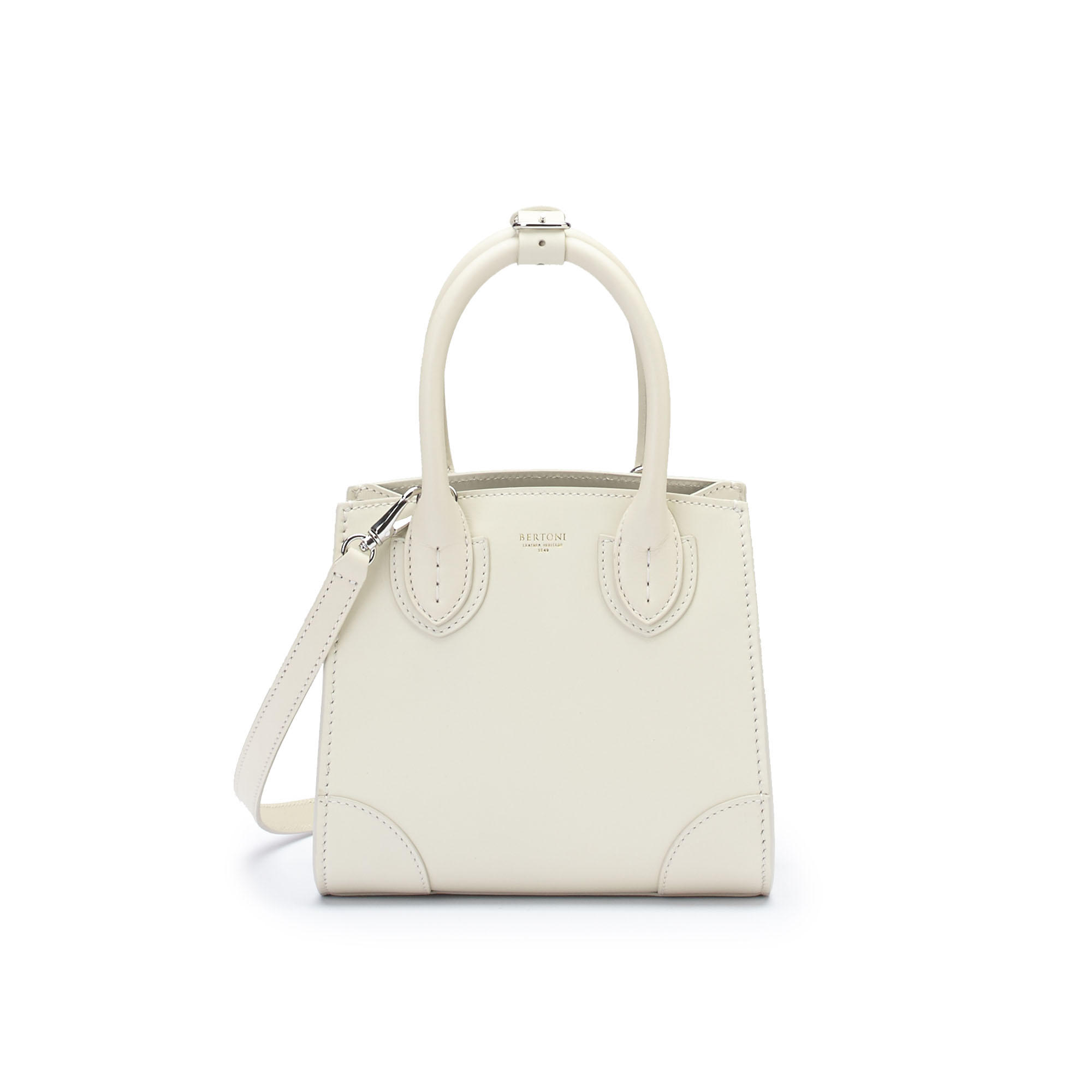 The ivory french calf Darcy bag by Bertoni 1949 02