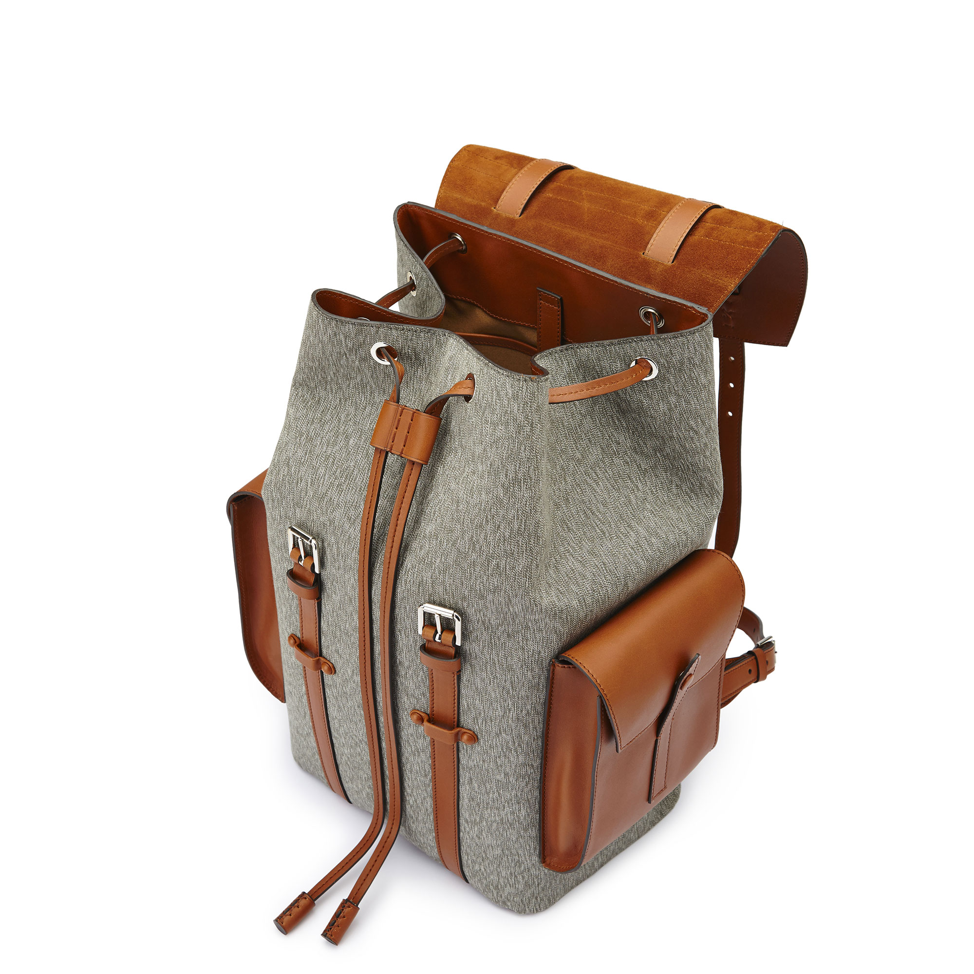The ivory and olive french calf Traveller Backpack by Bertoni 1949 04
