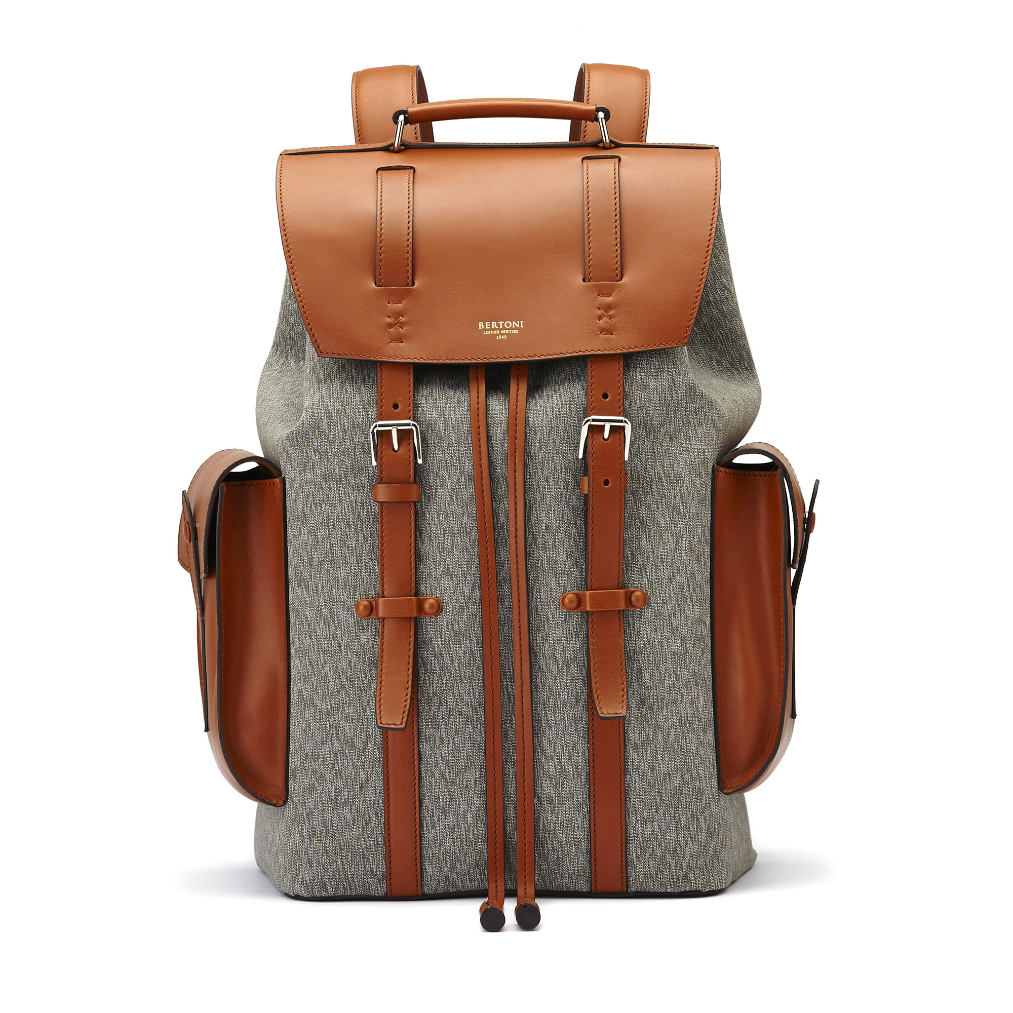The ivory and olive french calf Traveller Backpack by Bertoni 1949 01