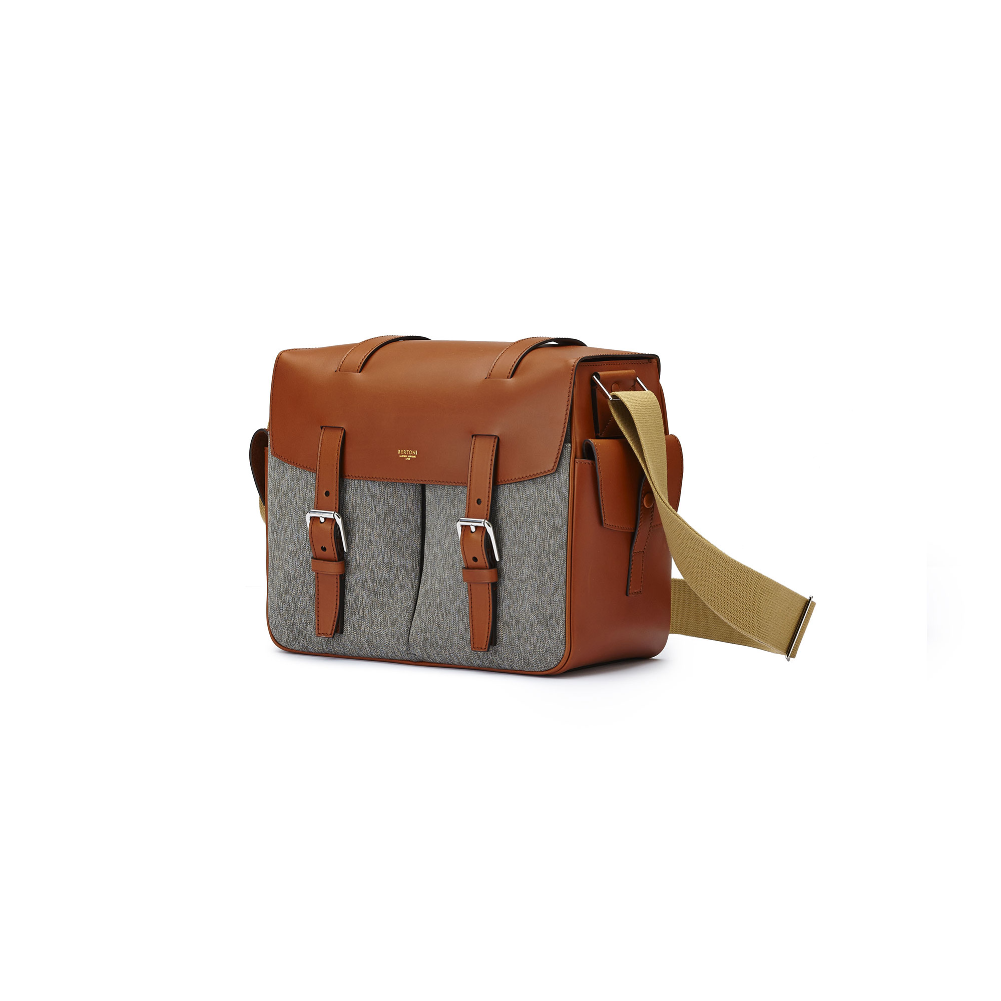 The ivory and olive french calf Traveller Messenger by Bertoni 1949 03
